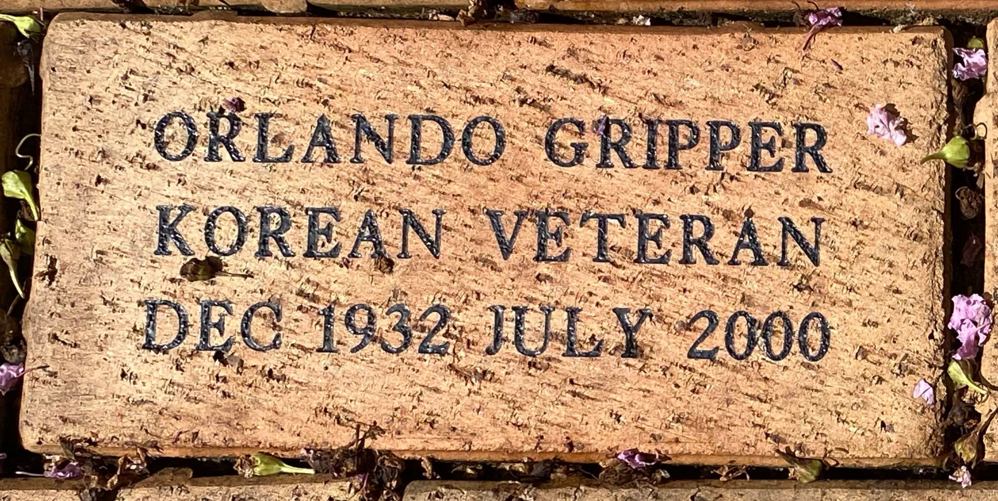 ORLANDO GRIPPER KOREAN VETERAN DEC 1932 JULY 2000
