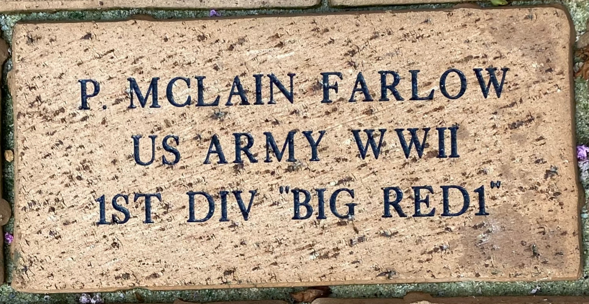 "P.MCLAIN FARLOW US ARMY WWII 1ST DIV """"BIG RED1"""""
