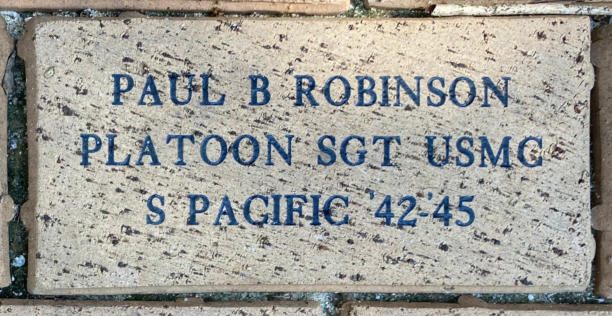 PAUL B ROBINSON PLATOON SGT USMC S PACIFIC '42-45