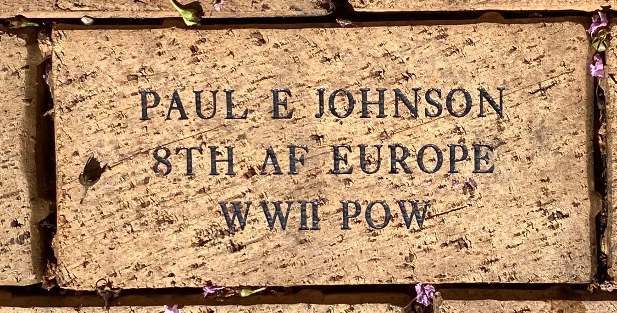 PAUL E JOHNSON 8TH AF EUROPE WWII POW