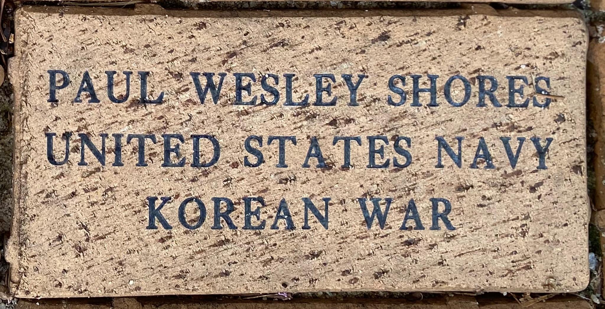 PAUL WESLEY SHORES UNITED STATES NAVY KOREAN WAR