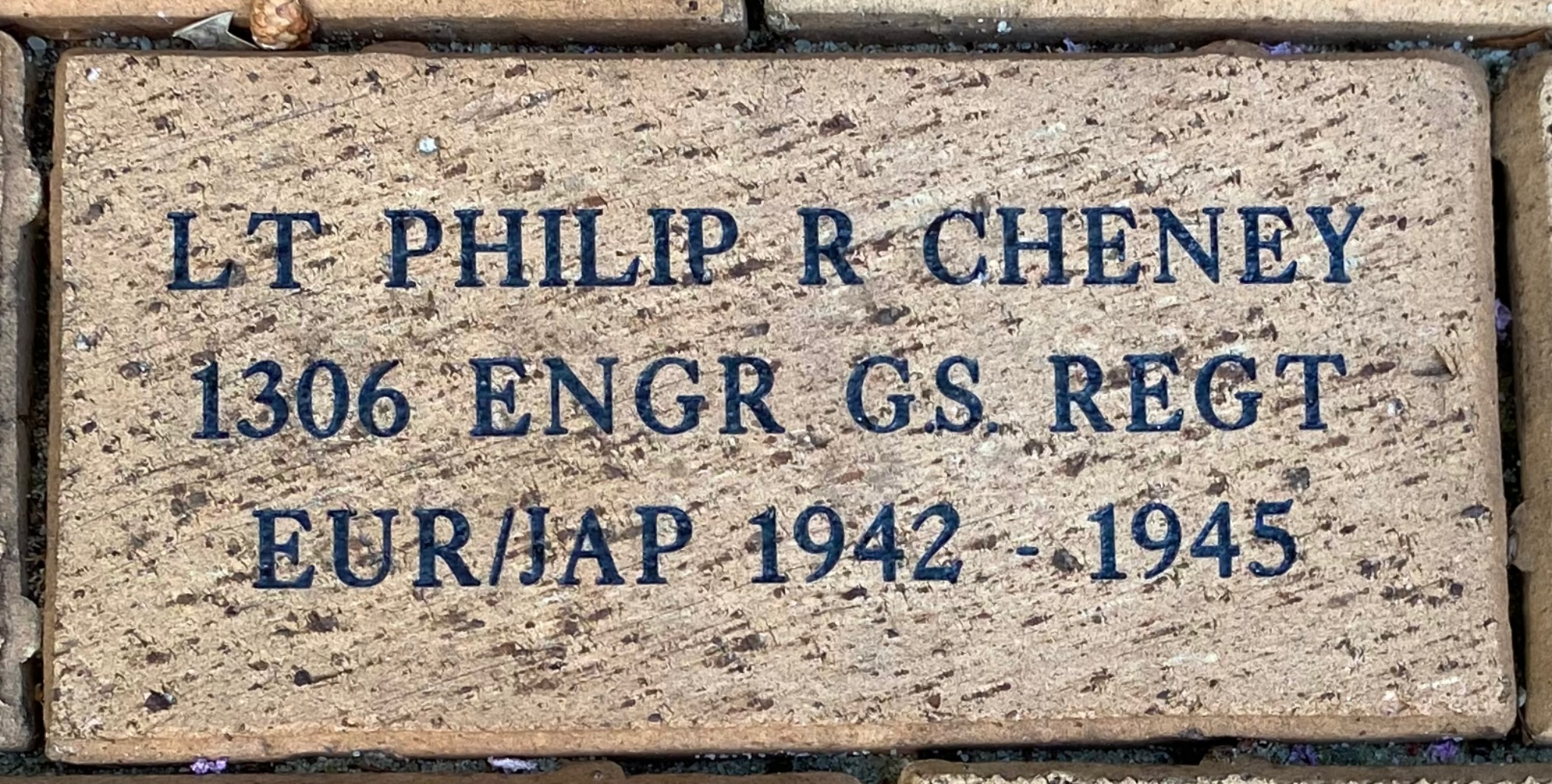 LT PHILIP R CHENEY 1306 ENGR GS REGT EUR/JAP 1942 – 1945