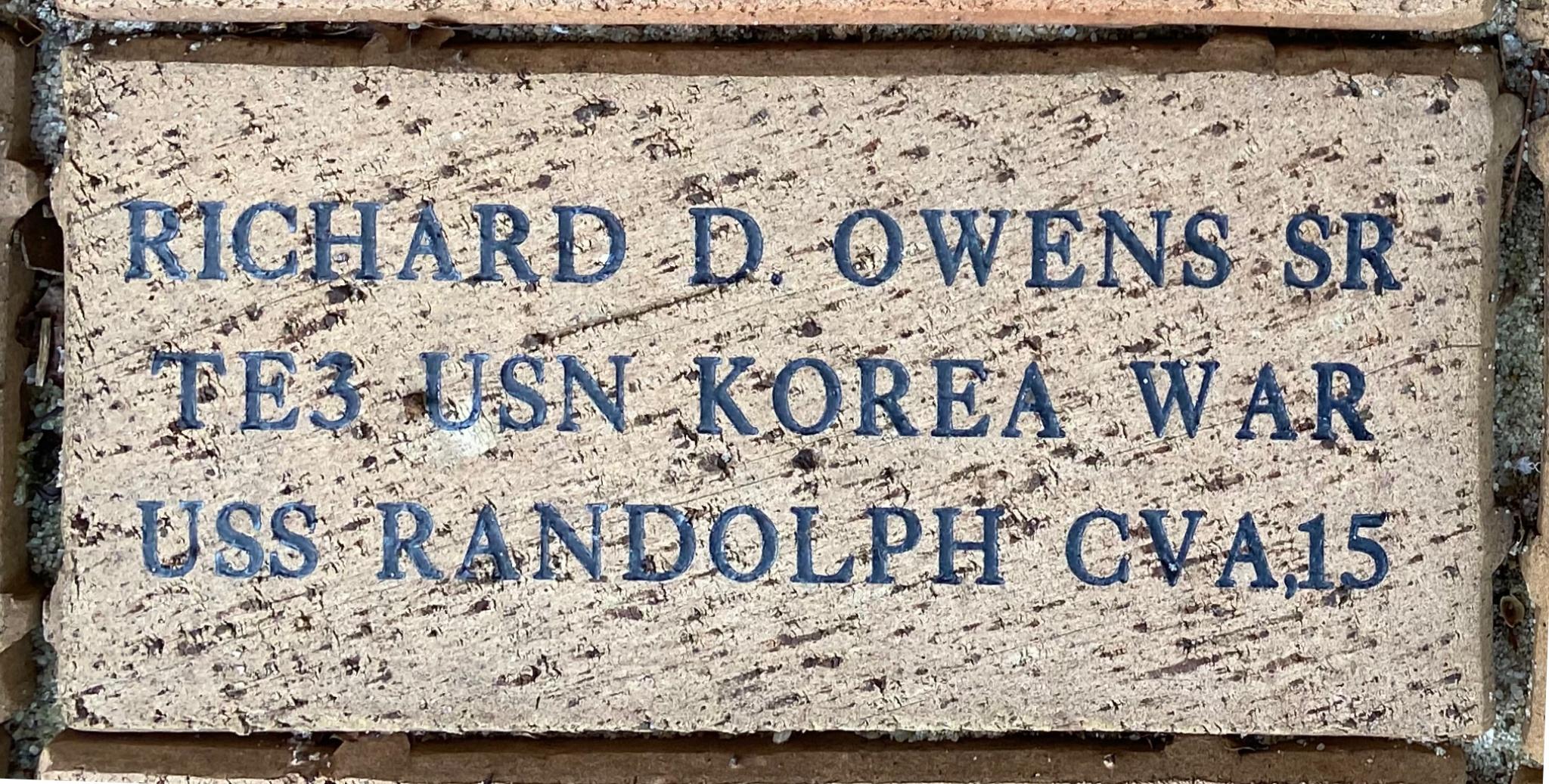 RICHARD D. OWENS SR TE3 USN KOREAN WAR USS RANDOLPH CVA15