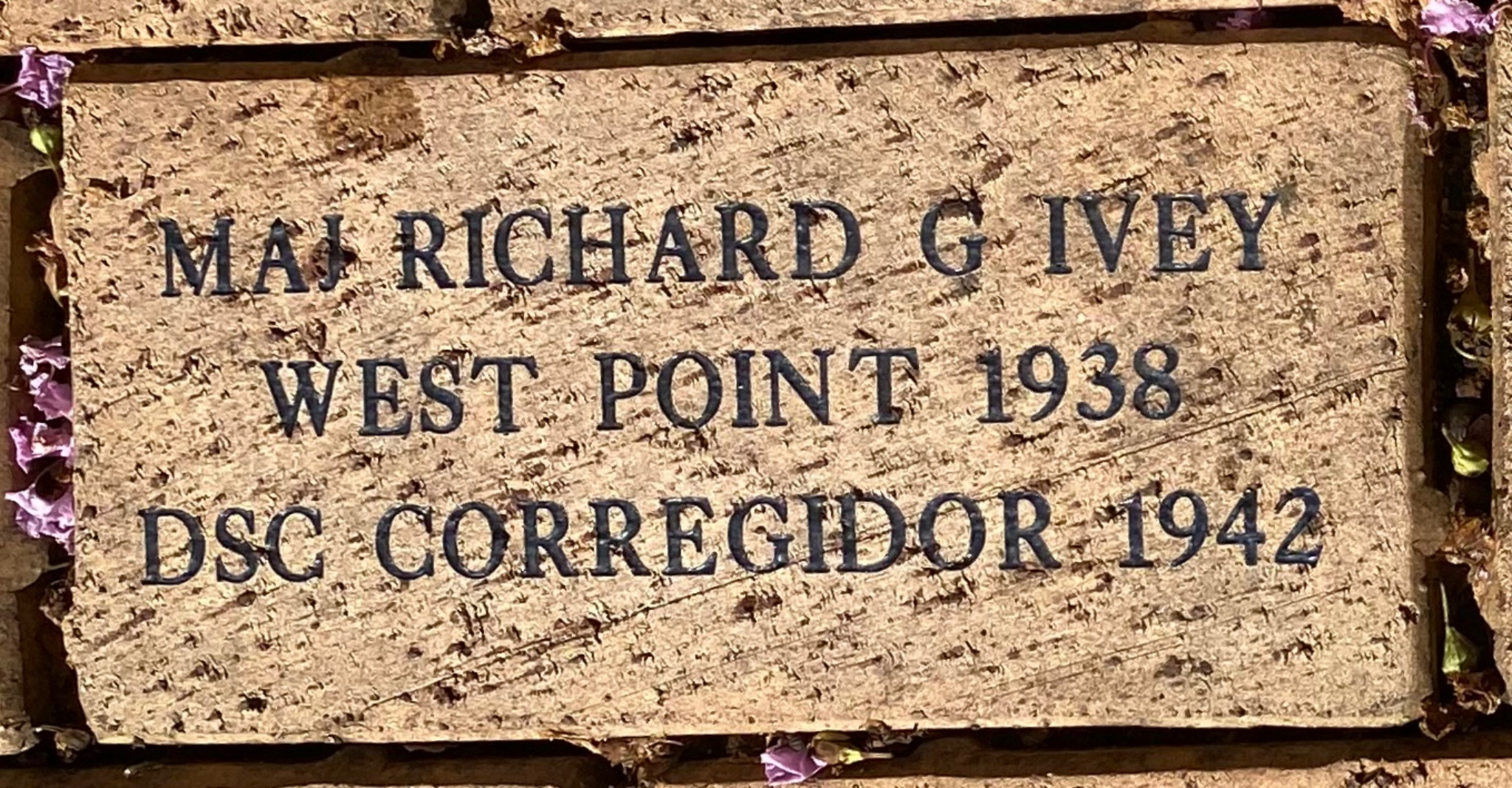 MAJ RICHARD G IVEY WEST POINT 1938 DSC CORREGIDOR 1942