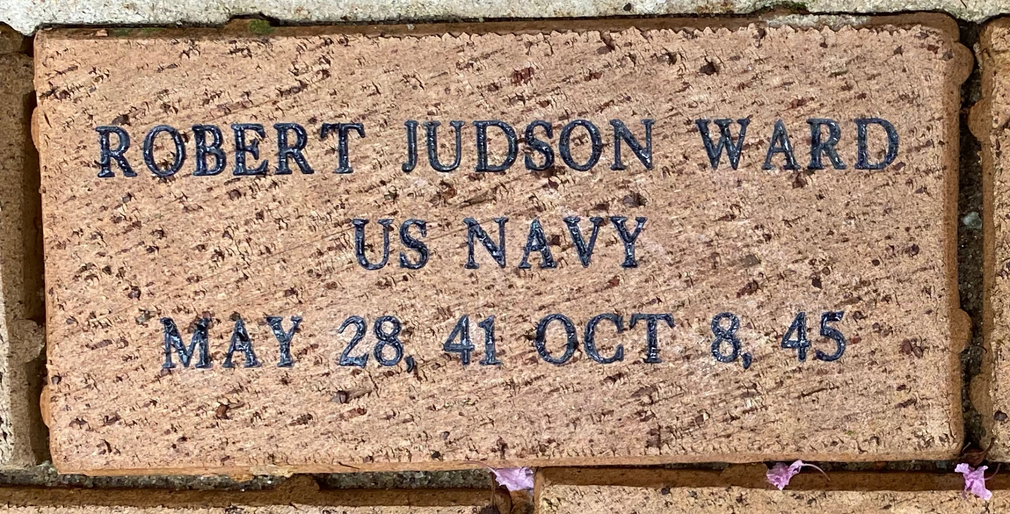 ROBERT JUDSON WARD U S NAVY MAY 28, 41 OCT 8, 45