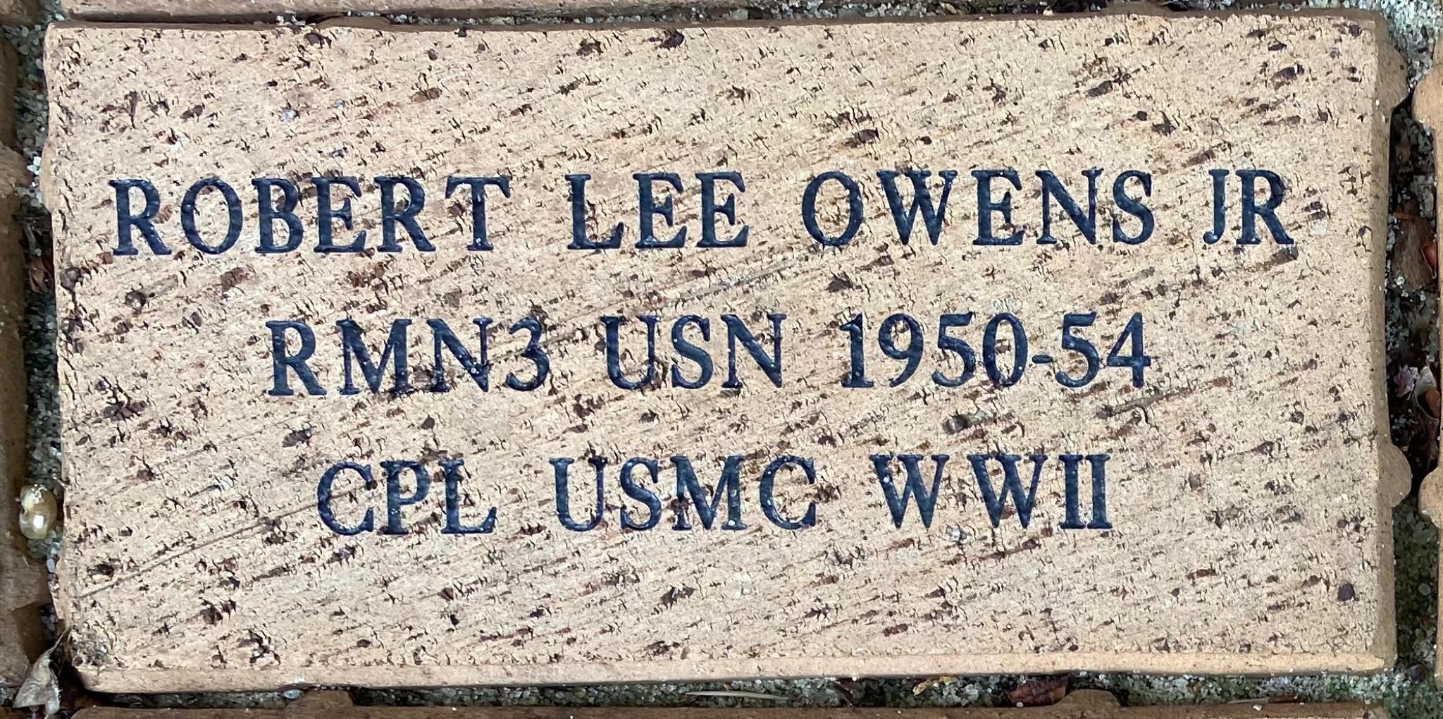 ROBERT LEE OWENS JR RMN3 USN 1950-54 CPL USMC WWII