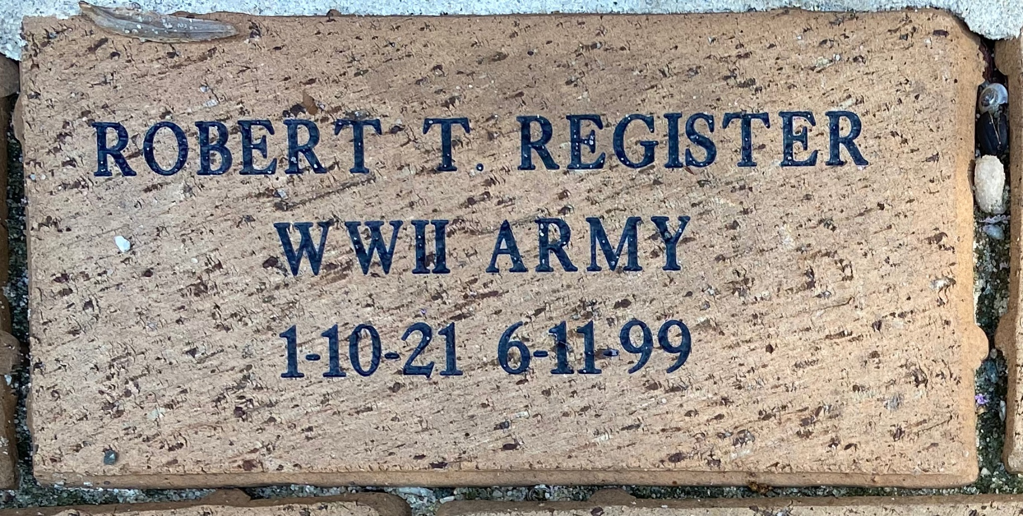 ROBERT T. REGISTER WWII ARMY 1-10-21 6-11-99