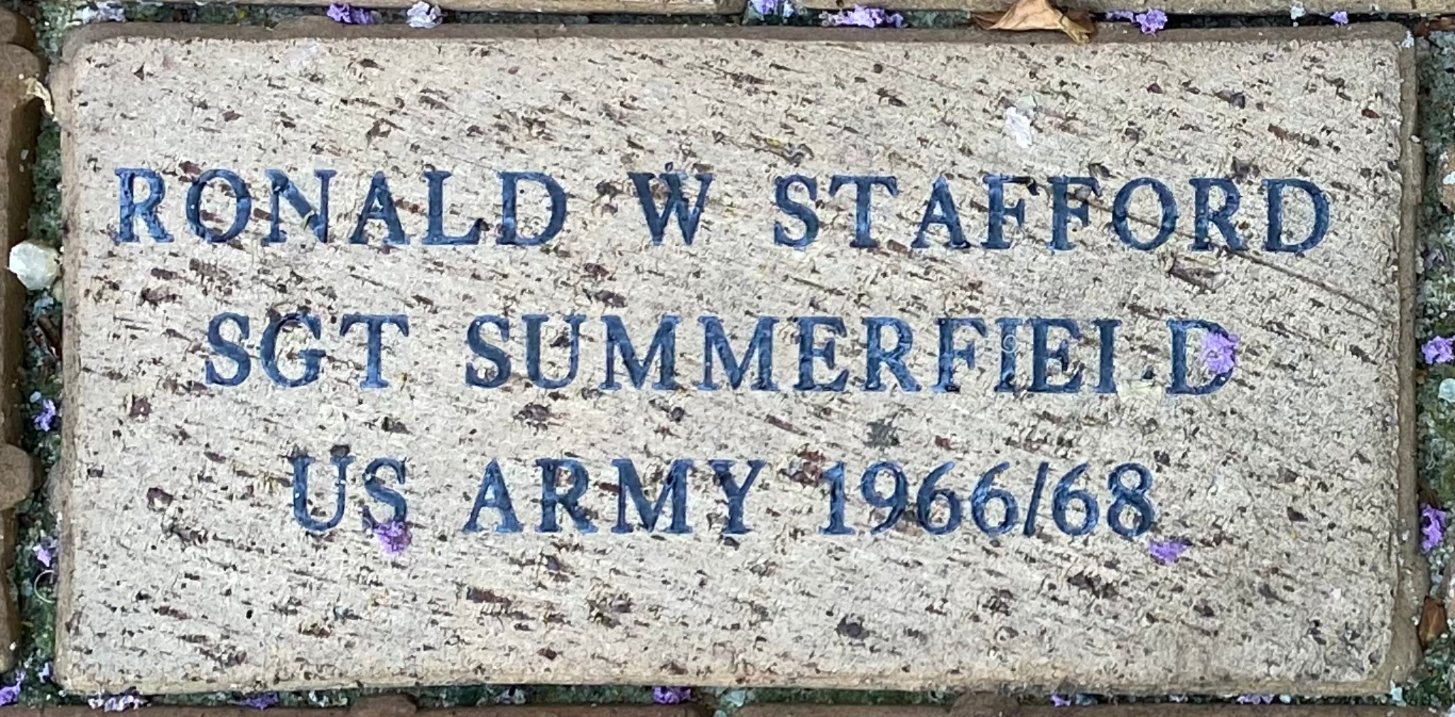 RONALD W STAFFORD SGT SUMMERFIELD  US ARMY 1966/68