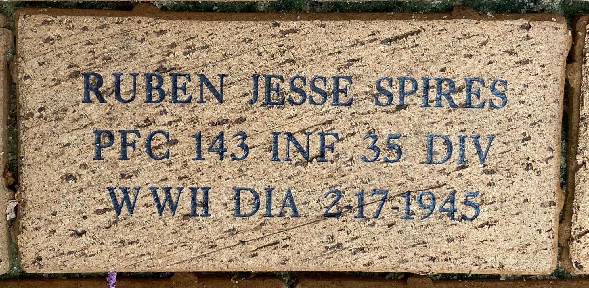 RUBEN JESSE SPIRES PFC 143 INF 36 DIV WWII DIA 2-17-1945