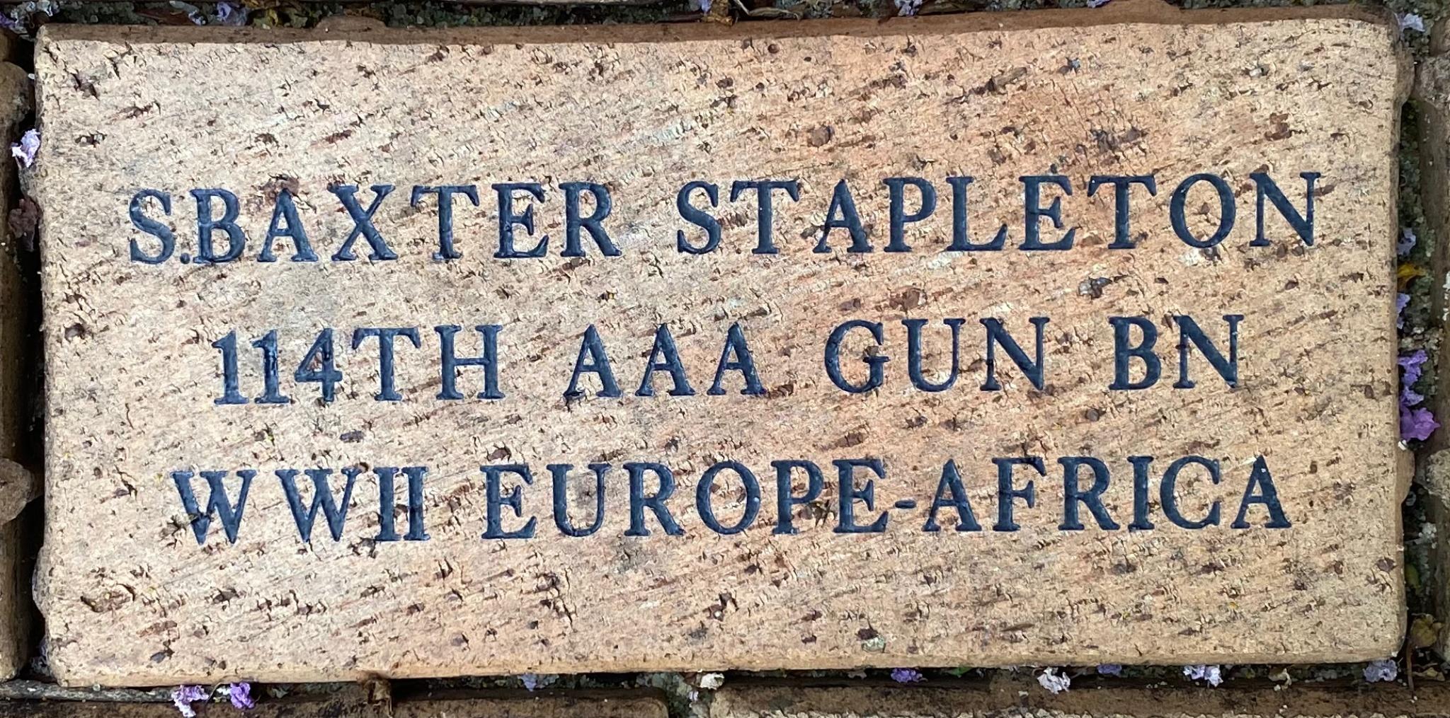 S.BAXTER STAPLETON 114TH AAA GUN BN WWII EUROPE-NAFRICA