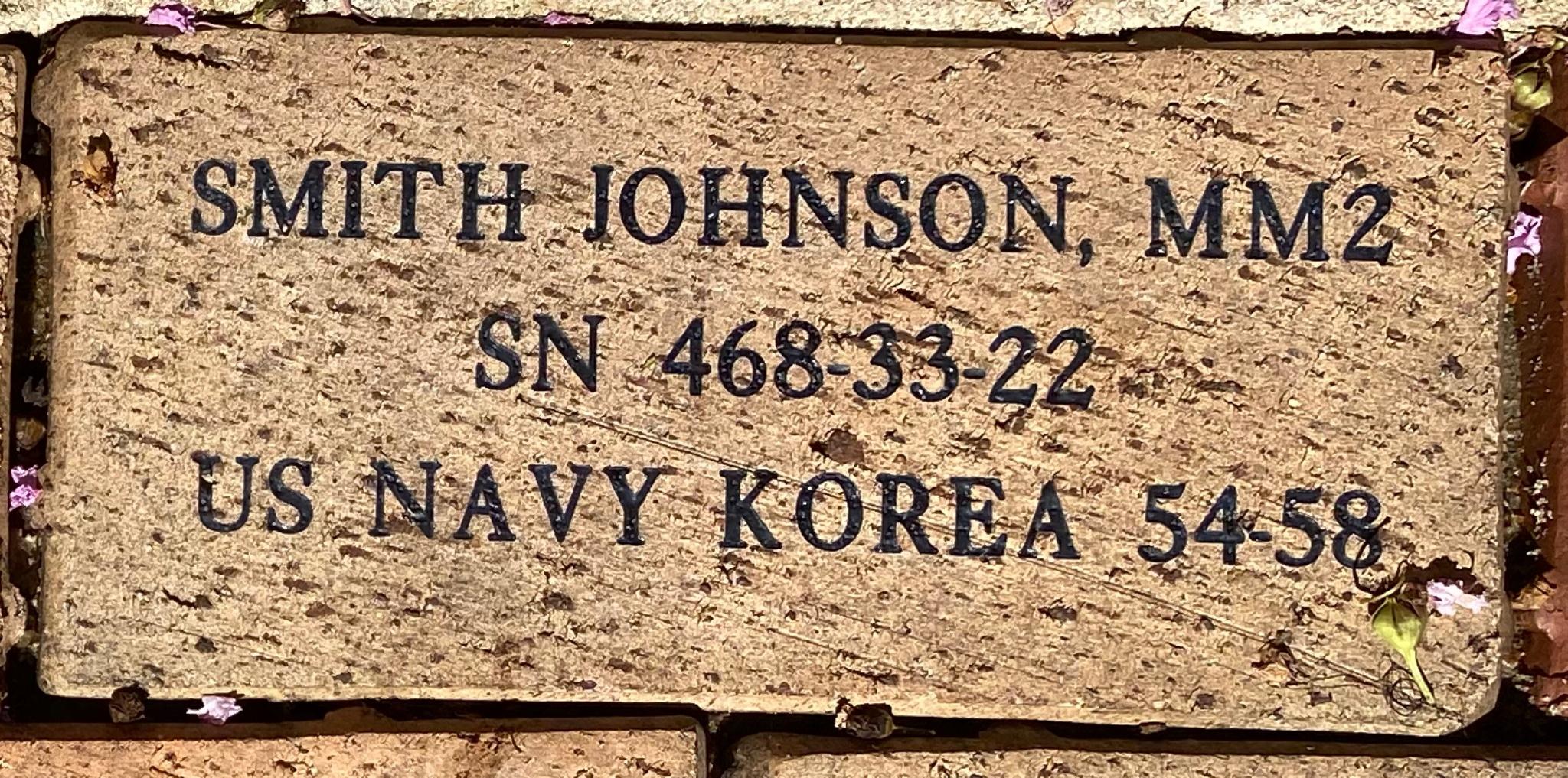 SMITH JOHNSON, MM2 SN 468-33-22 US NAVY KOREA 54-58
