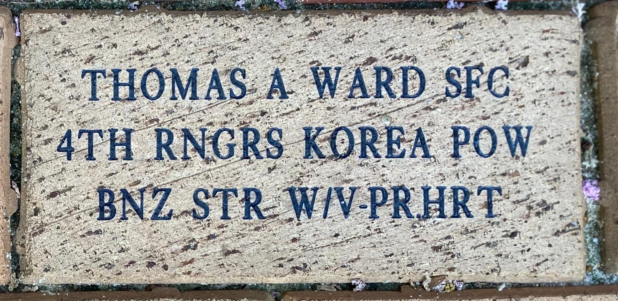 THOMAS A WARD SFC 4TH RNGRS KOREA POW BNZ STR W/V-PR.HRT