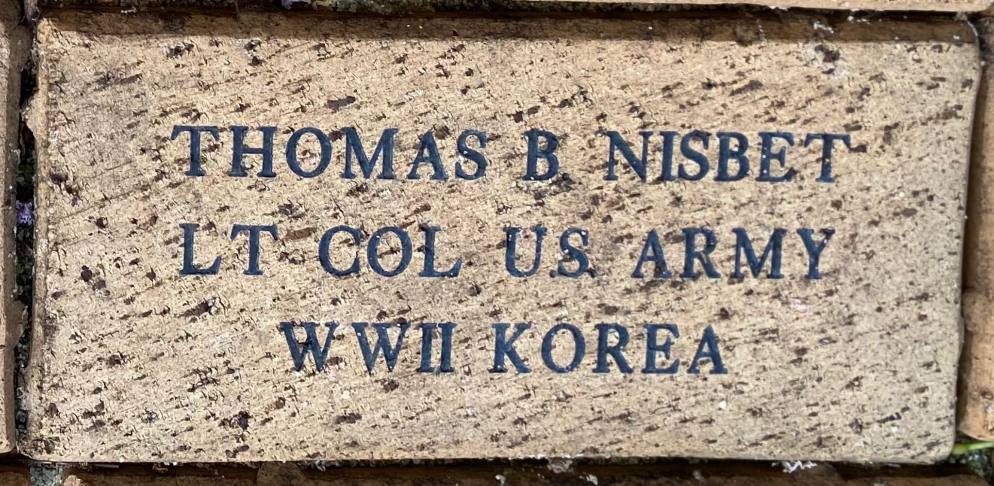 THOMAS B. NISBET LT COL U.S. ARMY WWII KOREA