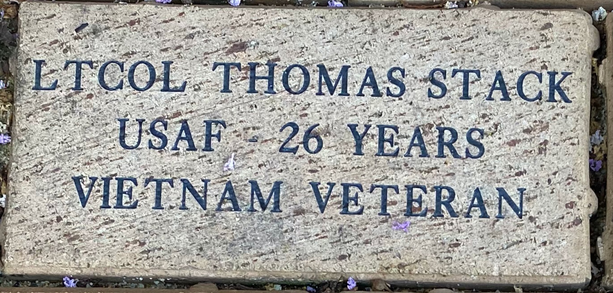 LTCOL THOMAS STACK USAF – 26 YEARS VIETNAM VETERAN
