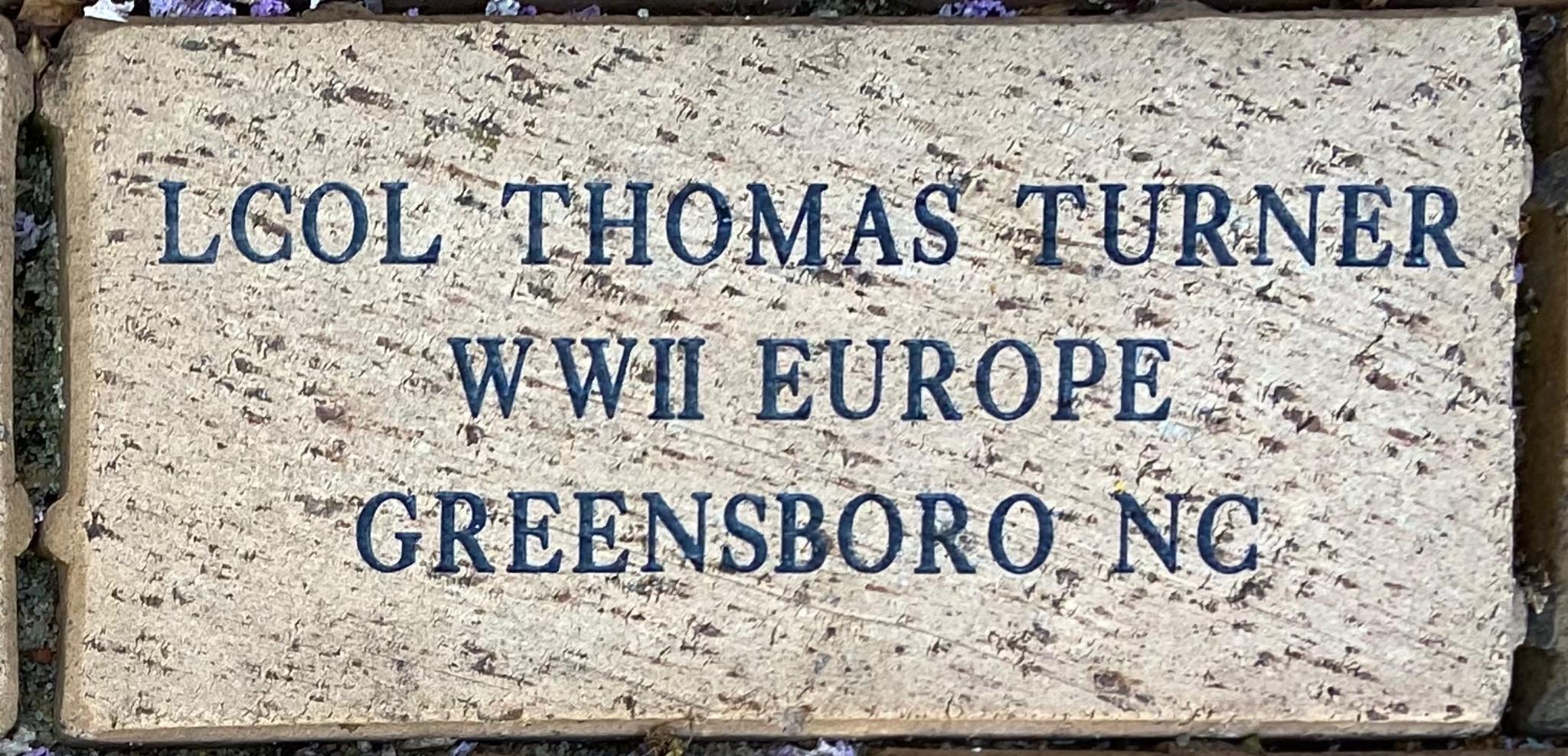 LCOL THOMAS TURNER WWII EUROPE GREENSBORO NC