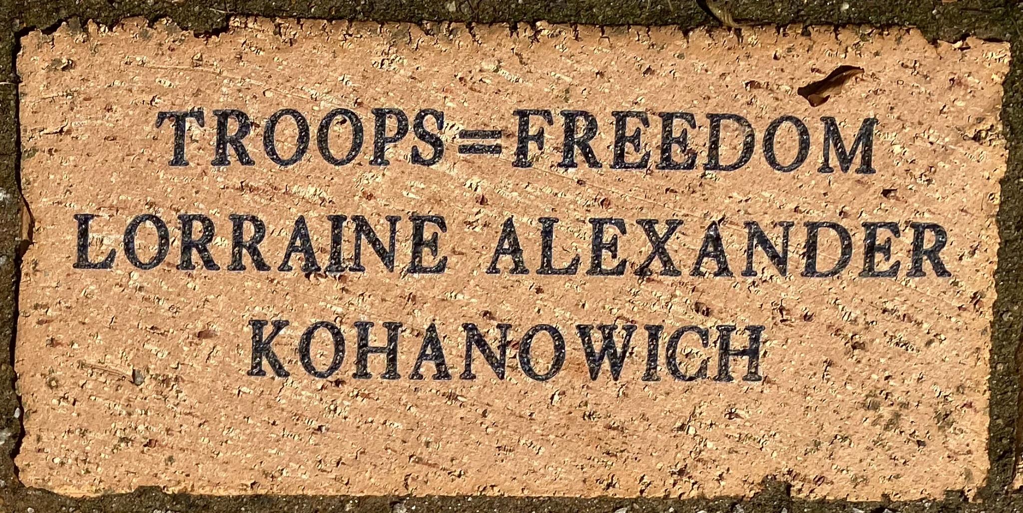 TROOPS=FREEDOM LORRAINE ALEXANDER KOHANOWICH