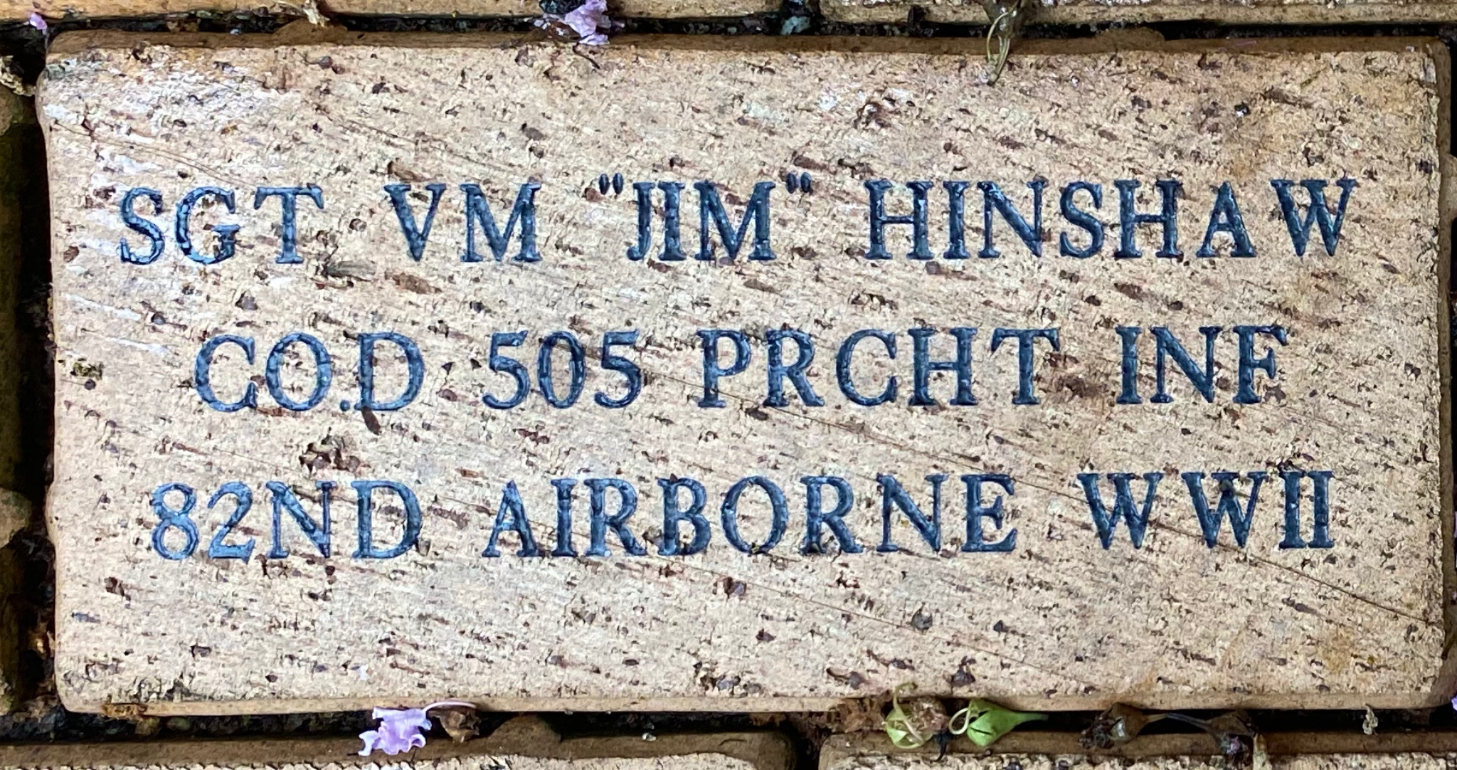 "SGT VM '""JIM'"" HINSHAW CO.D 505 PRCHT INF 82ND AIRBORNE WWII"