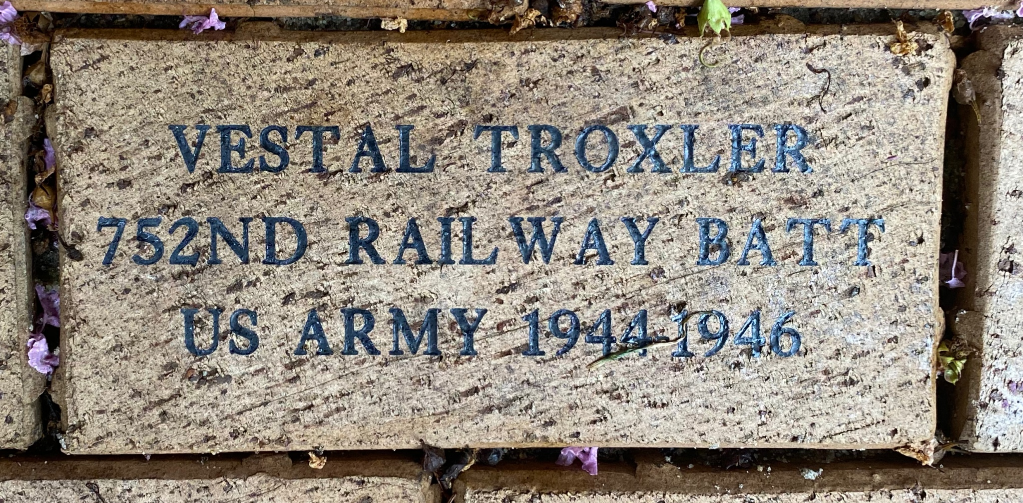 VESTAL TROXLER 752ND RAILWAY BATT. US ARMY 1944-1946
