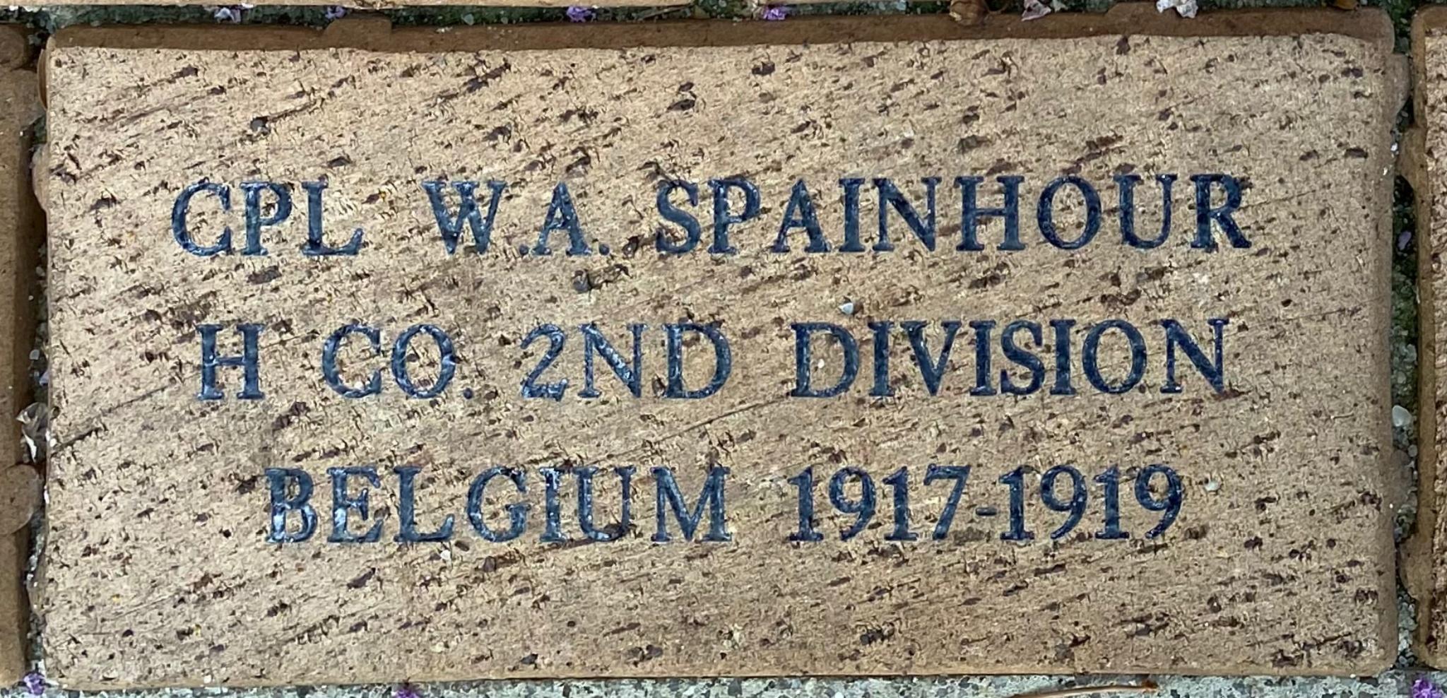 CPL. W.A. SPAINHOUR H CO. 2ND DIVISION BELGIUM 1917-1919