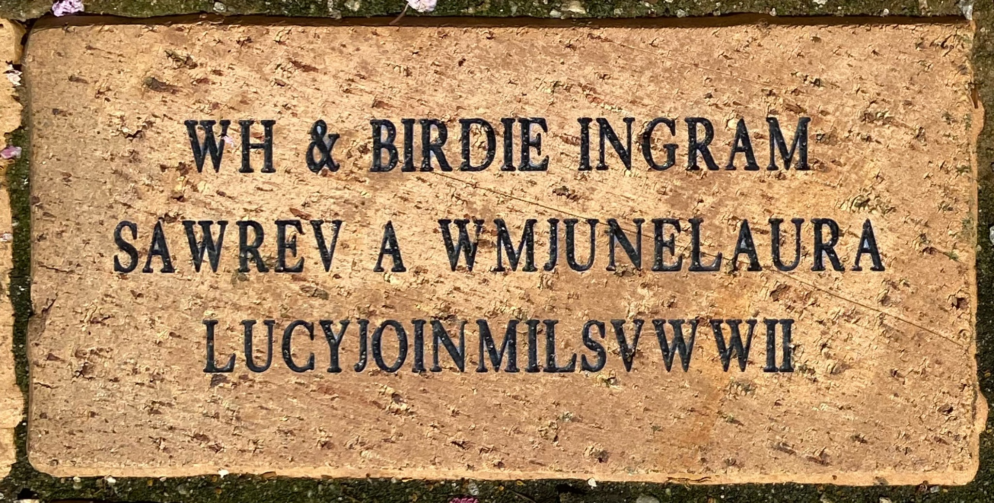 WH & BIRDIE INGRAM SAWREV A WMJUNELAURA LUCYJOINMILSVWWII