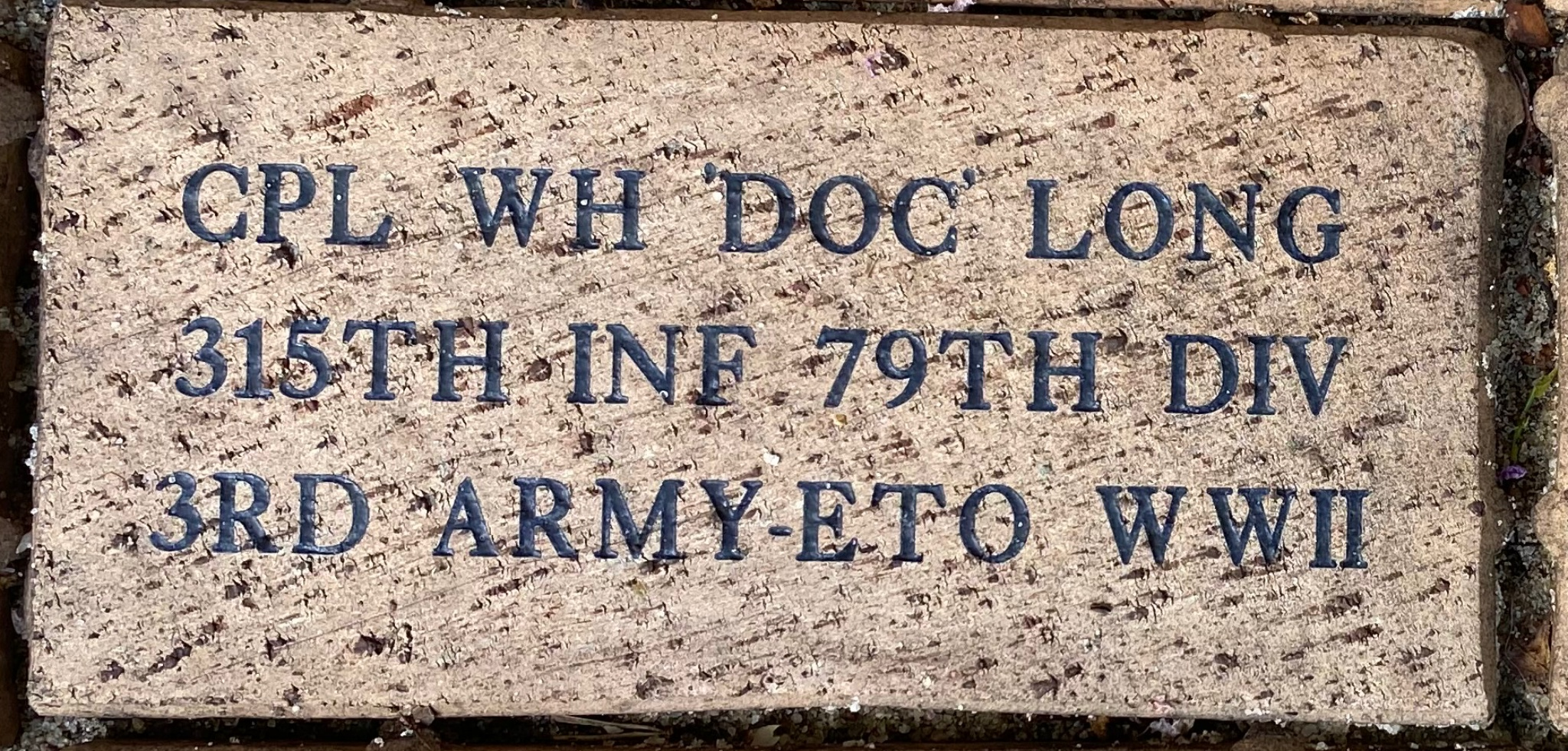 CPL WH 'DOC' LONG 315TH INF 79TH DIV 3RD ARMY ETO WWII