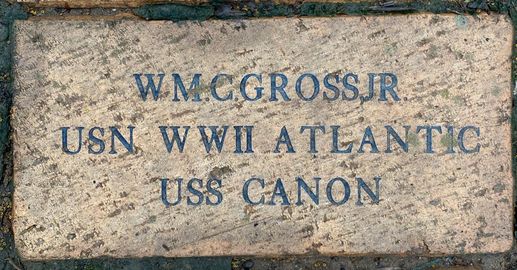 WM. C. GROSS, JR USN WWII ATLANTIC USS CANNON