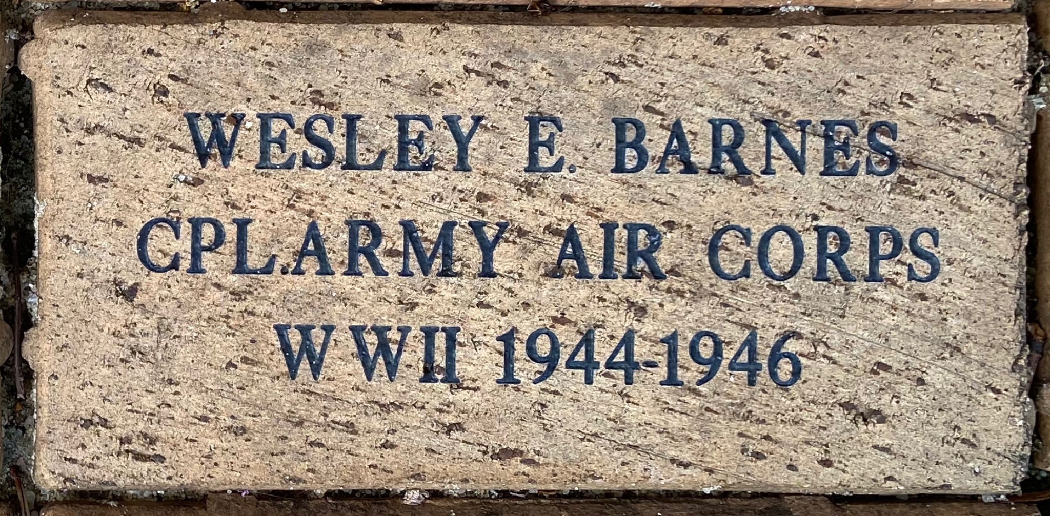 WESLEY E. BARNES CPL. ARMY AIR CORPS WWII 1944 -1946