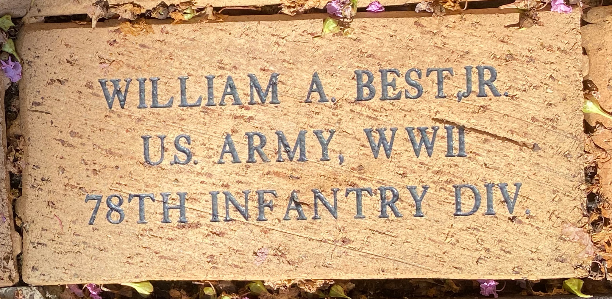 WILLIAM A. BEST, JR U.S. ARMY, WWII 78TH INFANTRY DIV