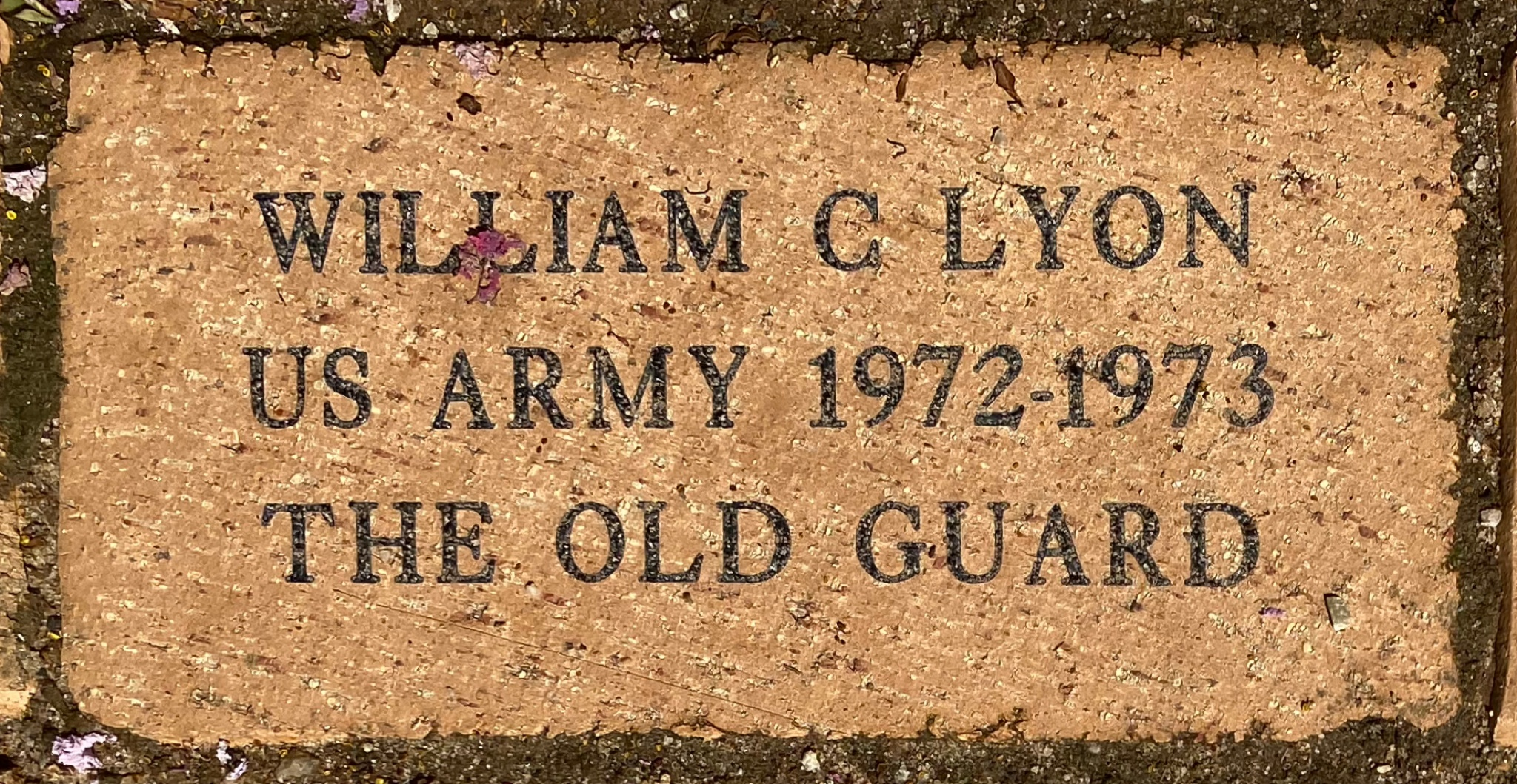 WILLIAM C LYON US ARMY 1972-1973 THE OLD GUARD