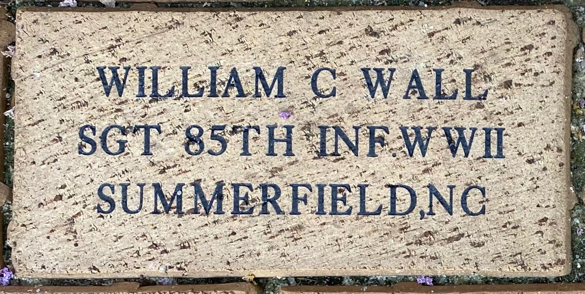 WILLIAM C WALL SGT 85TH INF WWII SUMMERFIELD,NC