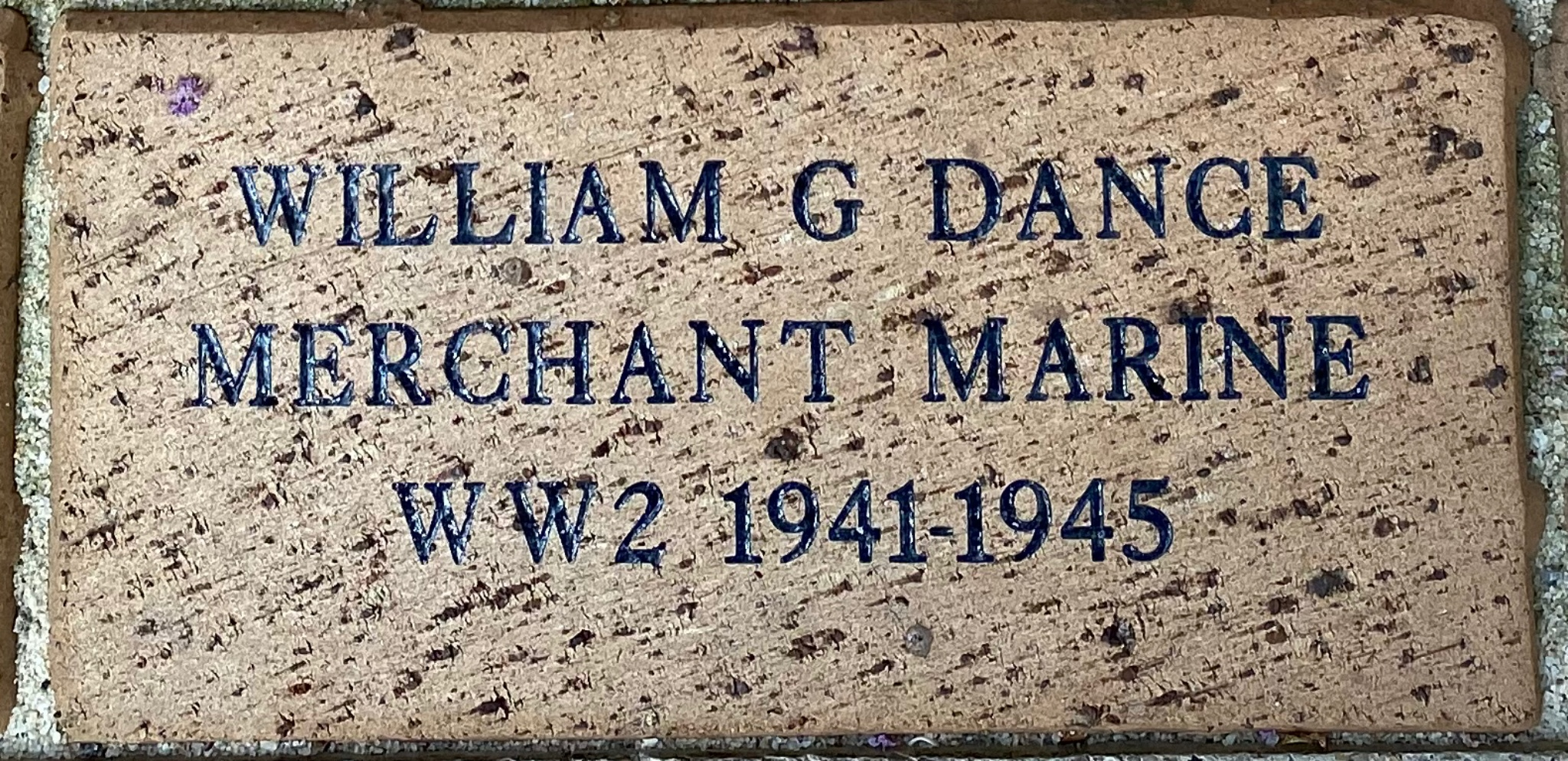 WILLIAM GEORGE DANCE MERCHANT MARINE WWII – 1941-1945