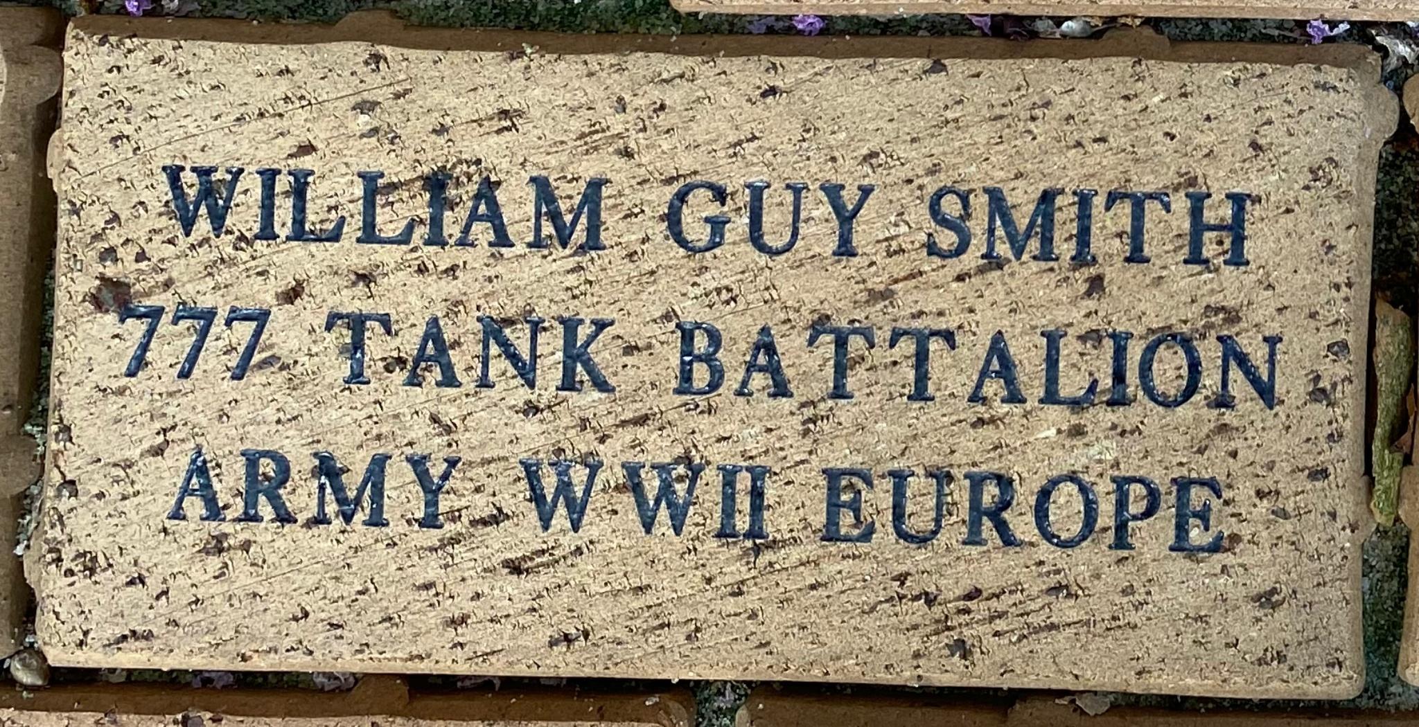 WILLIAM GUY SMITH 777 TANK BATTALION ARMY W.W.II EUROPE