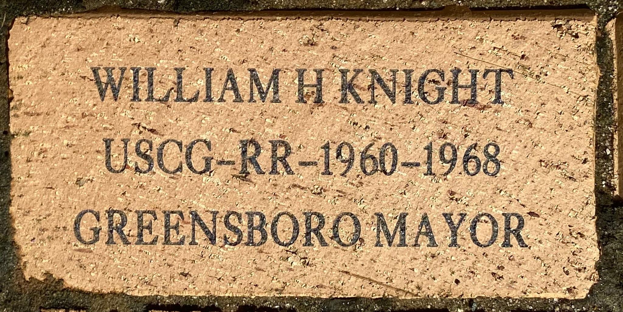 WILLIAM H KNIGHT USCG-RR-1960-1968 GREENSBORO MAYOR