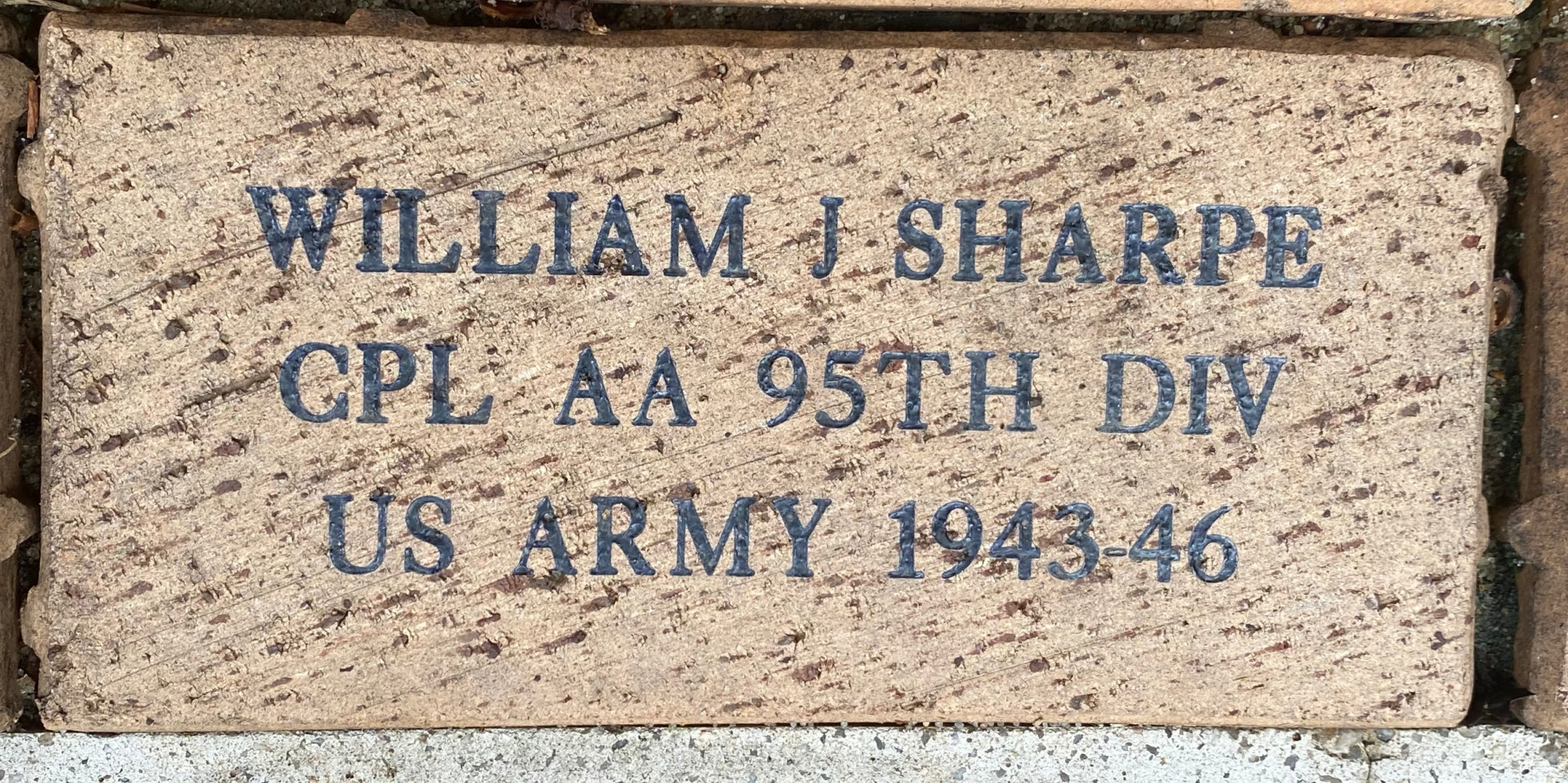 WILLIAM J SHARPE CPL AA 95TH DIV US ARMY 1943-46