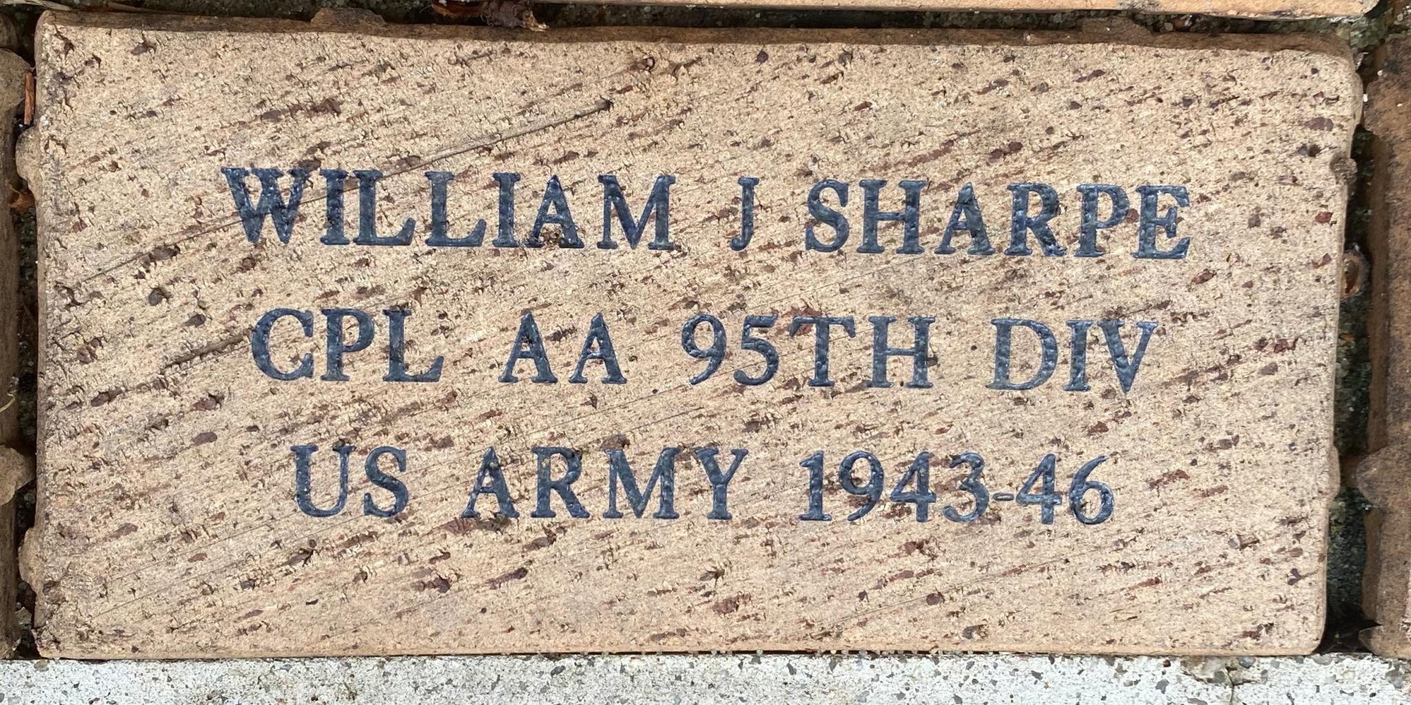 WILLIAM J SHARPE CPL AA 95TH DIV US ARMY 1943-46