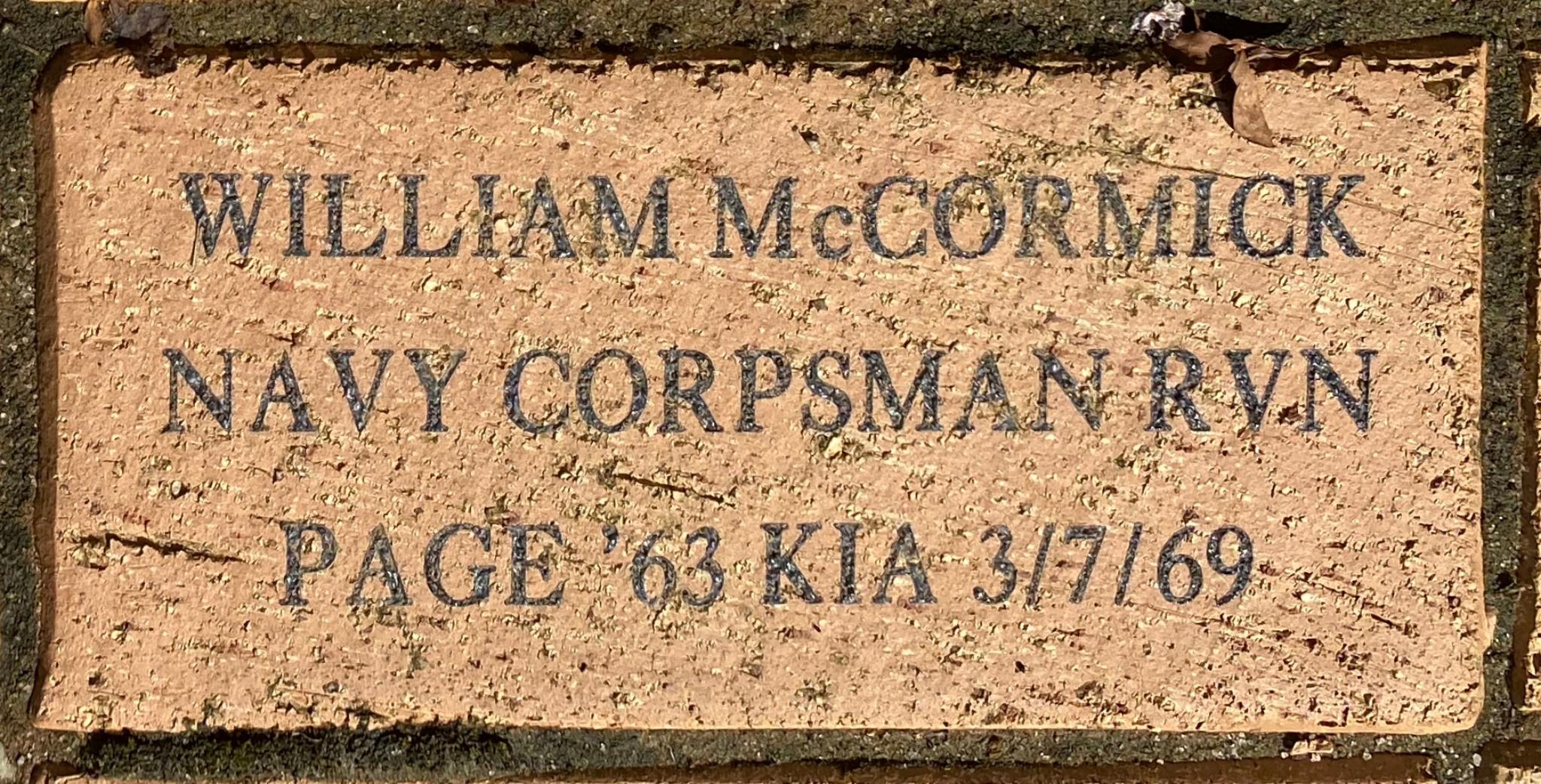 William McCormick Navy Corpsman RVN Page '63 KIA 3/7/69