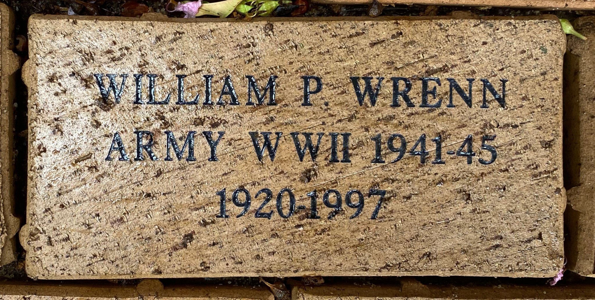 WILLIAM P. WRENN ARMY WWII 1941-45 1920-1997