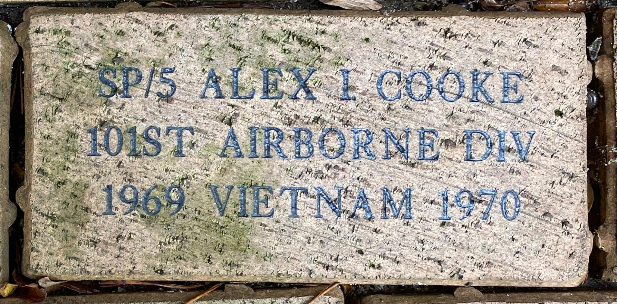SP/5 ALEX I. COOKE 101ST AIRBORNE DIV 1969 VIETNAM 1970