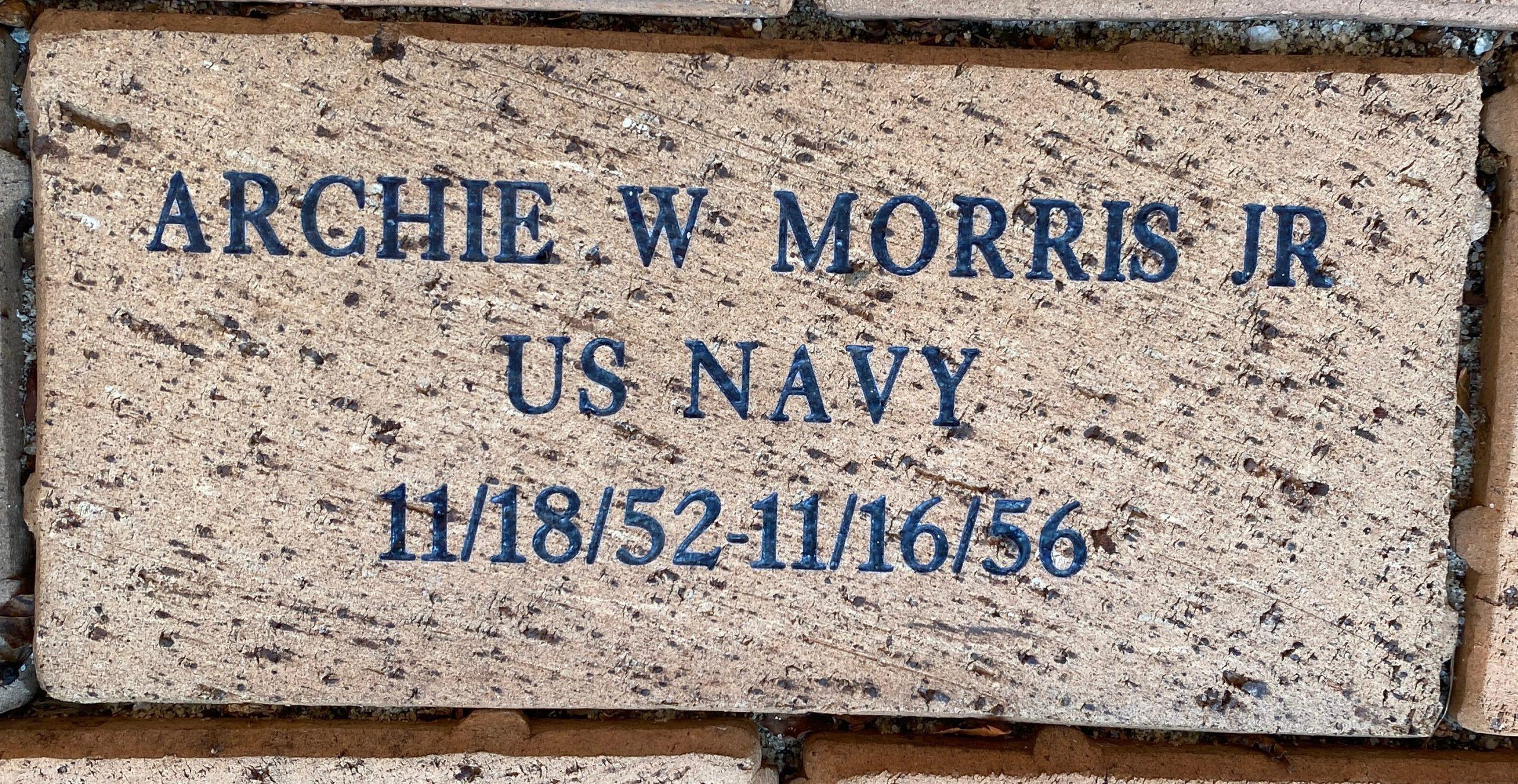 ARCHIE W. MORRIS JR US NAVY 11/18/52-11/16/56