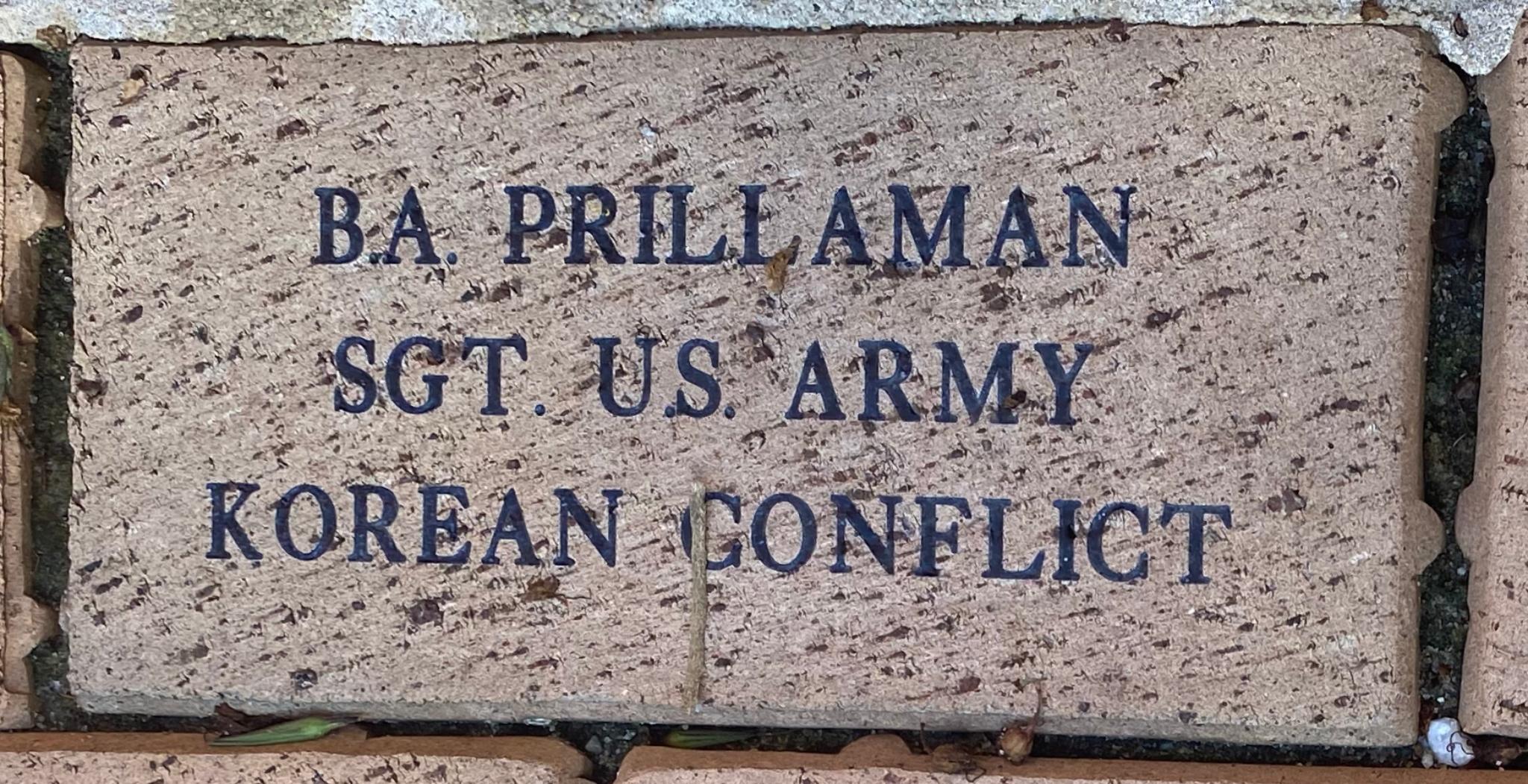 B.A. PRILLAMAN SGT. U. S. ARMY KOREAN CONFLICT