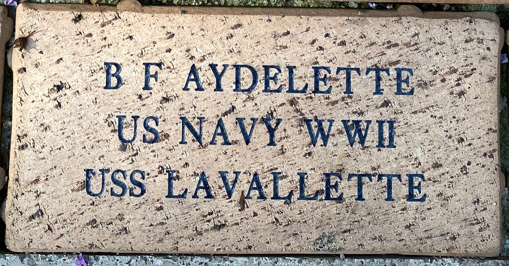 B F AYDELETTE US NAVY WWII USS LAVALLETTE