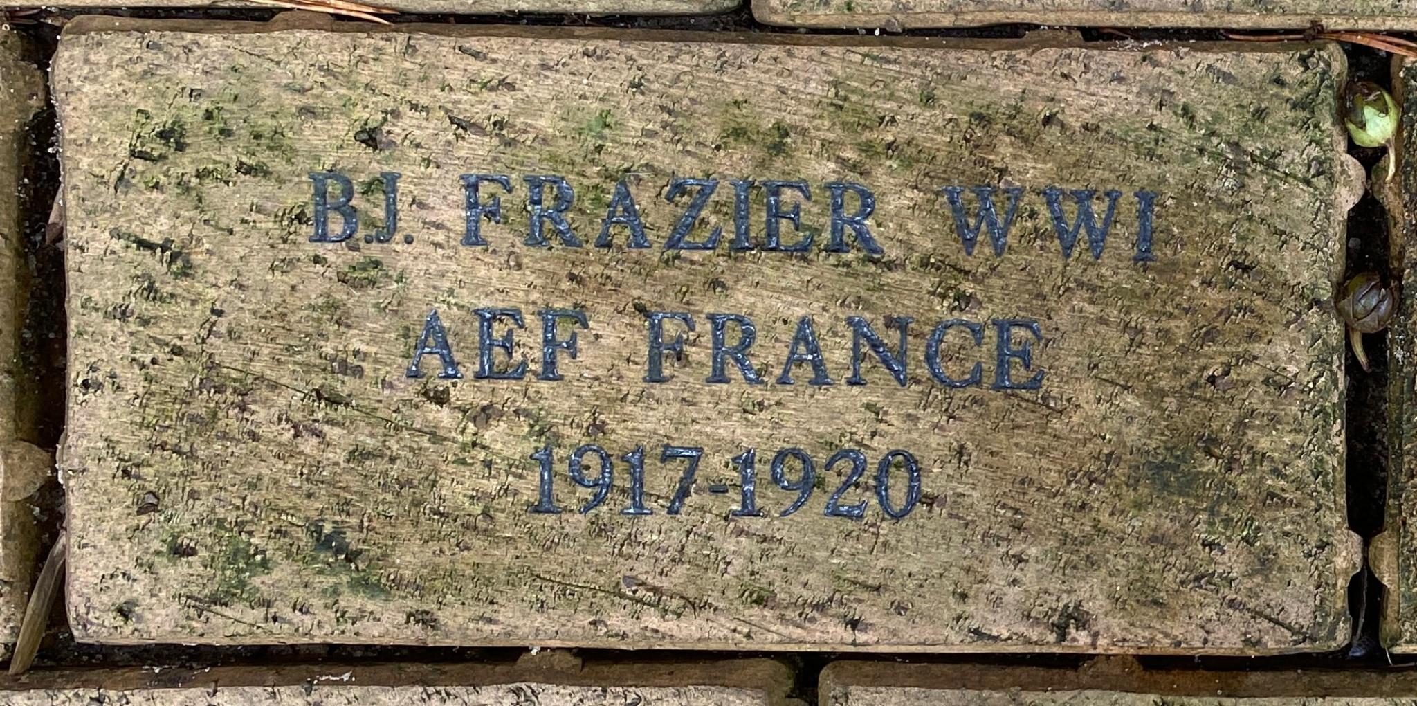 B.J. FRAZIER WWI A E F FRANCE 1917-1920