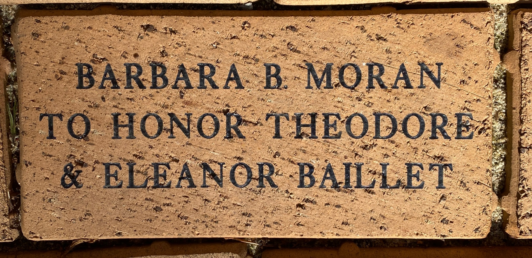 BARBARA B. MORAN TO HONOR THEODORE & ELEANOR BAILLET