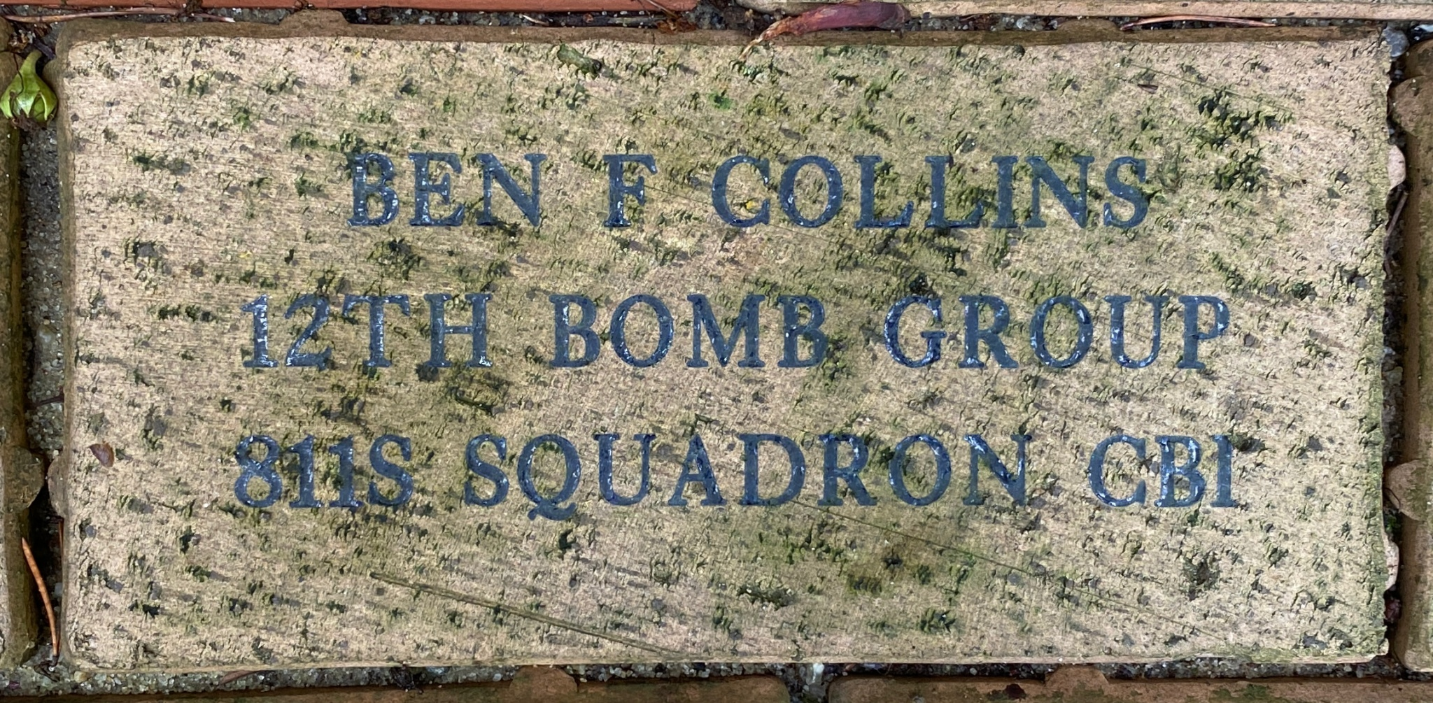 BEN F COLLINS 12TH BOMB GROUP 811S SQUADRON CBI