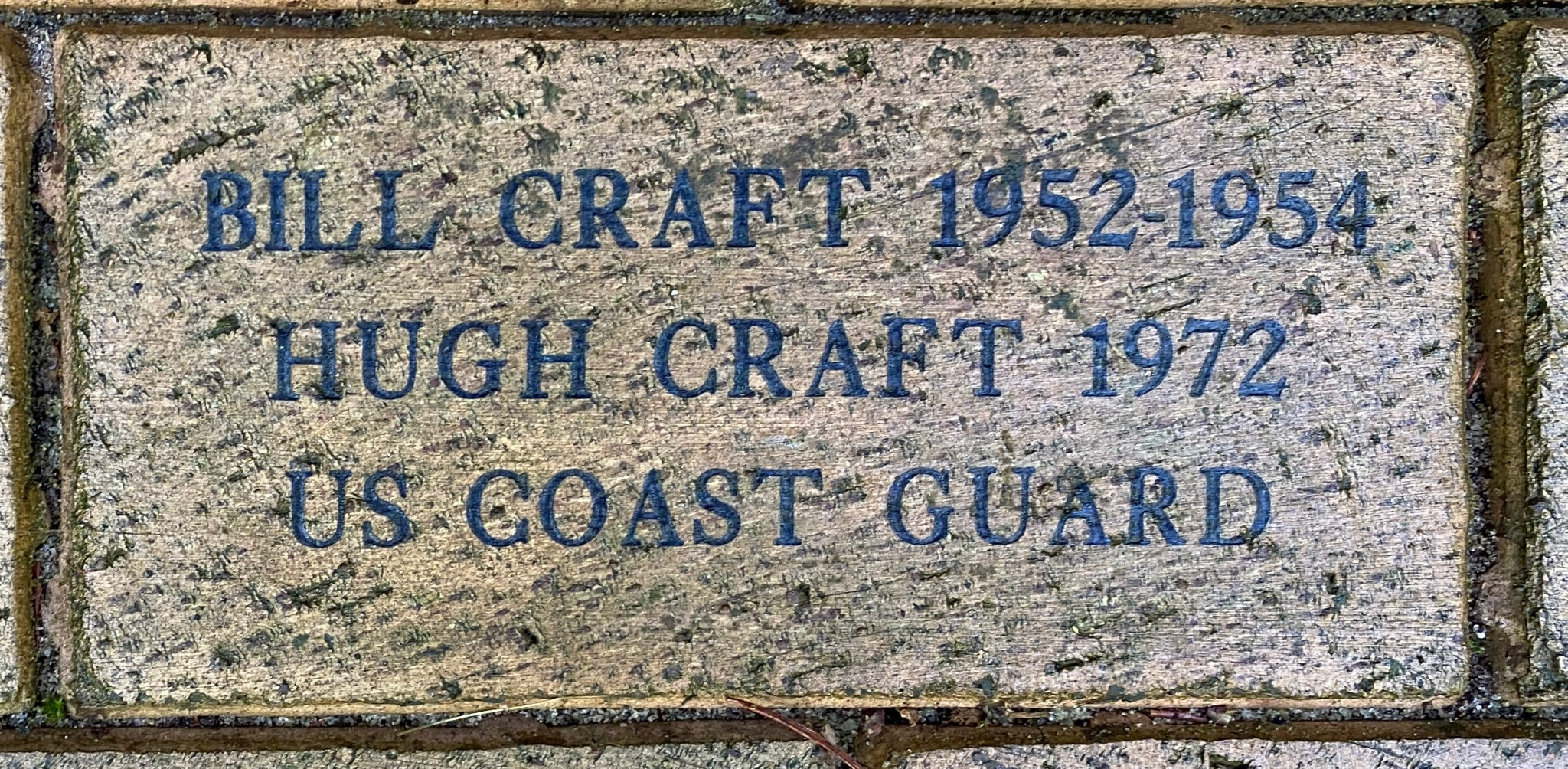 BILL CRAFT 1952-1954 HUGH CRAFT 1972 US COAST GUARD