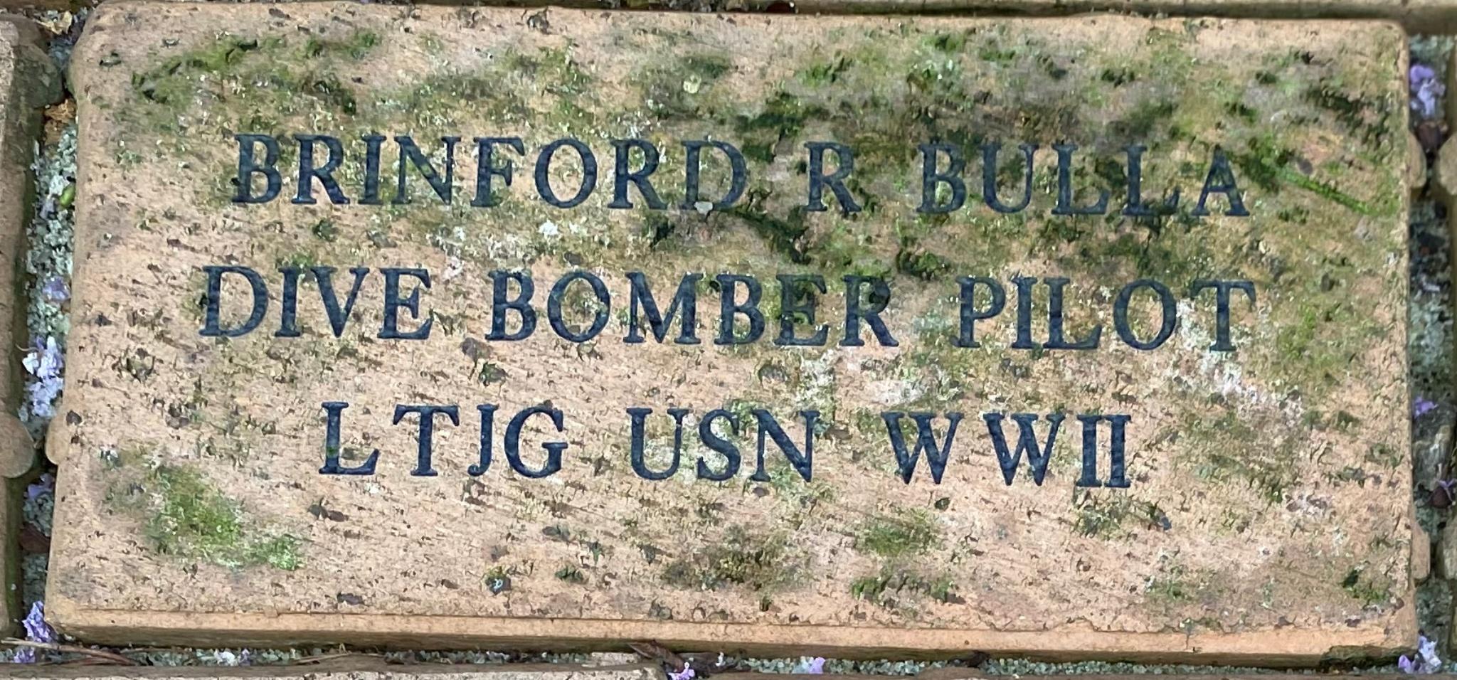 BRINFORD R BULLA DIVE BOMBER PILOT LTJG USN WWII