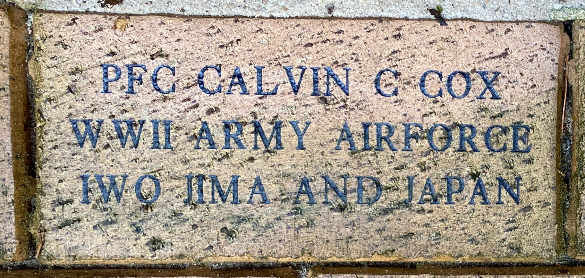 PFC CALVIN C COX WWII ARMY AIRFORCE IWO JIMA AND JAPAN