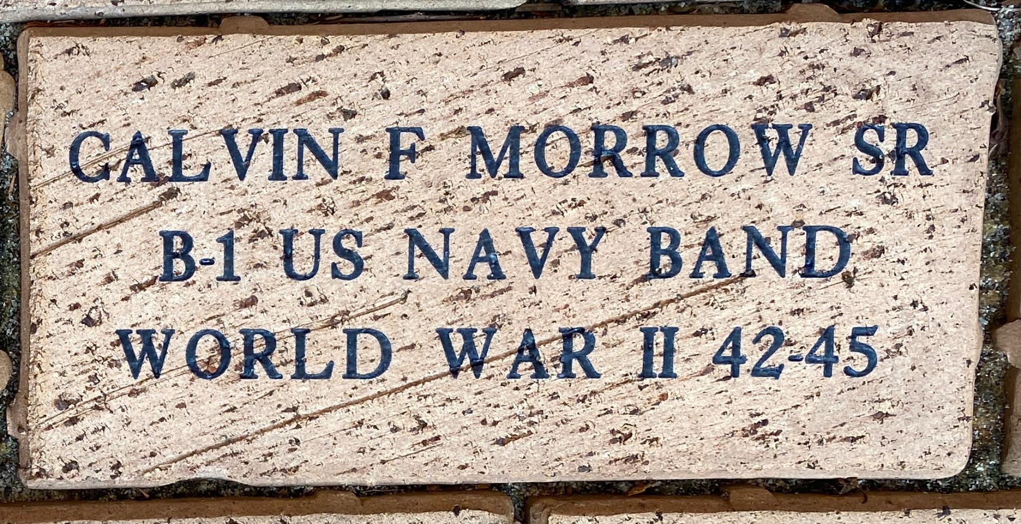 CALVIN F MORROW SR B-1 US NAVY BAND WORLD WAR II 42-45