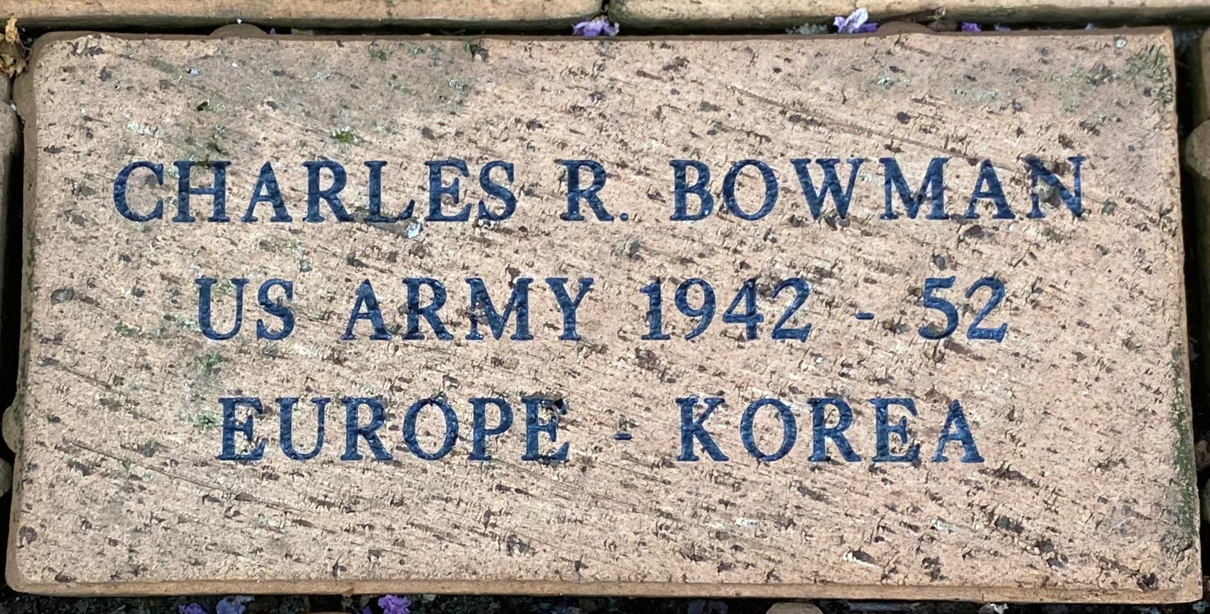 CHARLES R. BOWMAN US ARMY 1942 – 52 EUROPE – KOREA