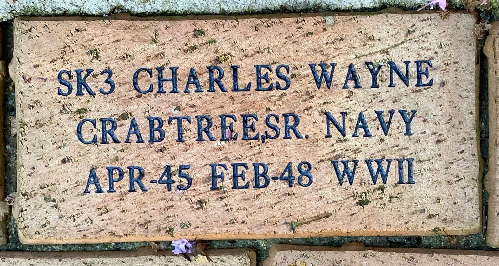 SK3 CHARLES WAYNE CRABTREE,SR. NAVY APR-45 FEB-48 WWII